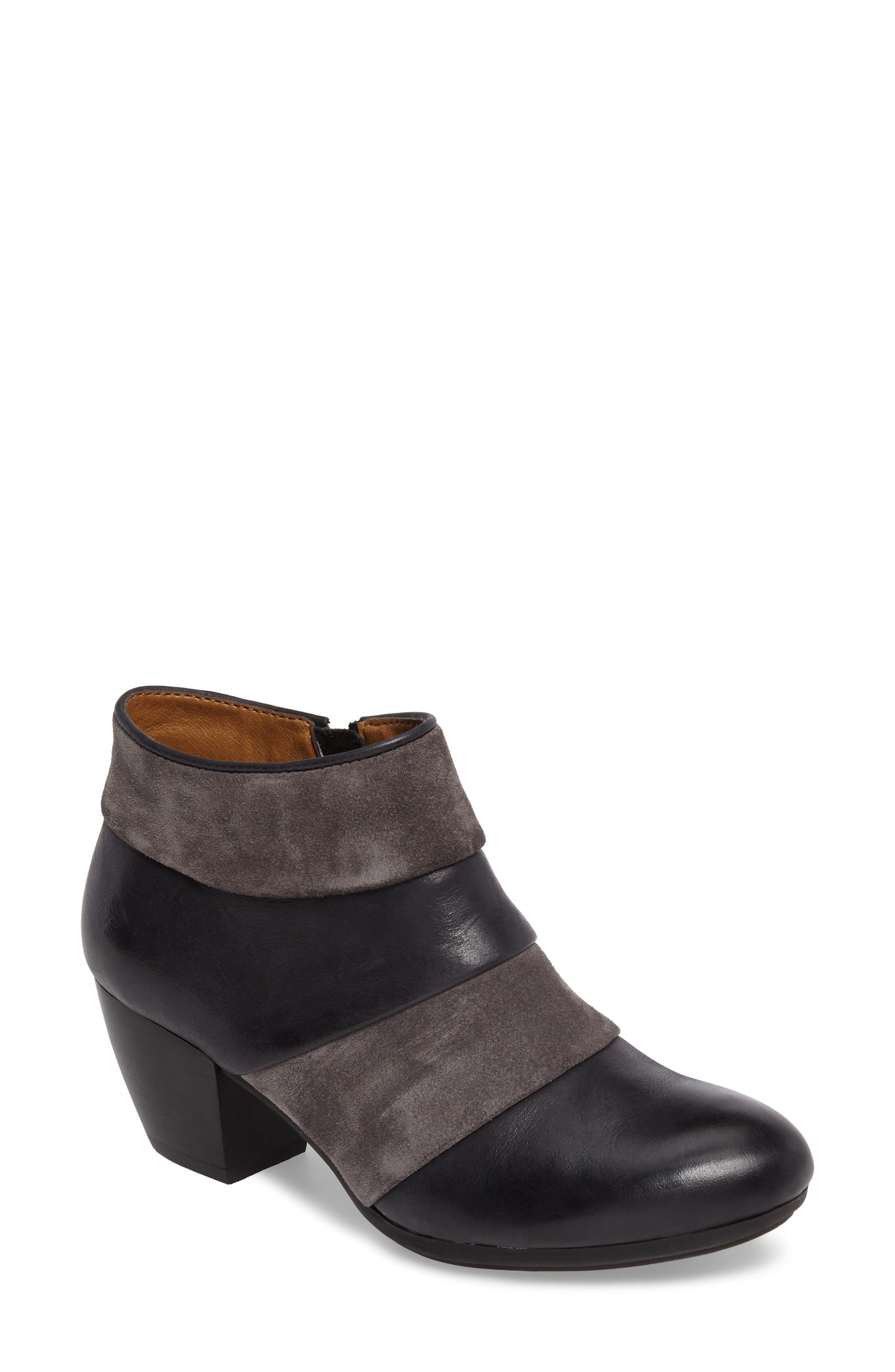Amesbury Colorblock Bootie,                             Main thumbnail 1, color,                             Black/ Steel Grey Leather