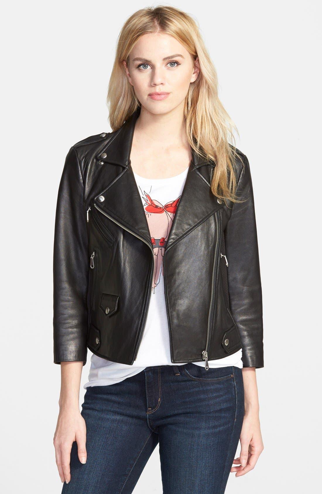 Wes Neoprene Panel Moto Jacket,                             Main thumbnail 1, color,                             Black