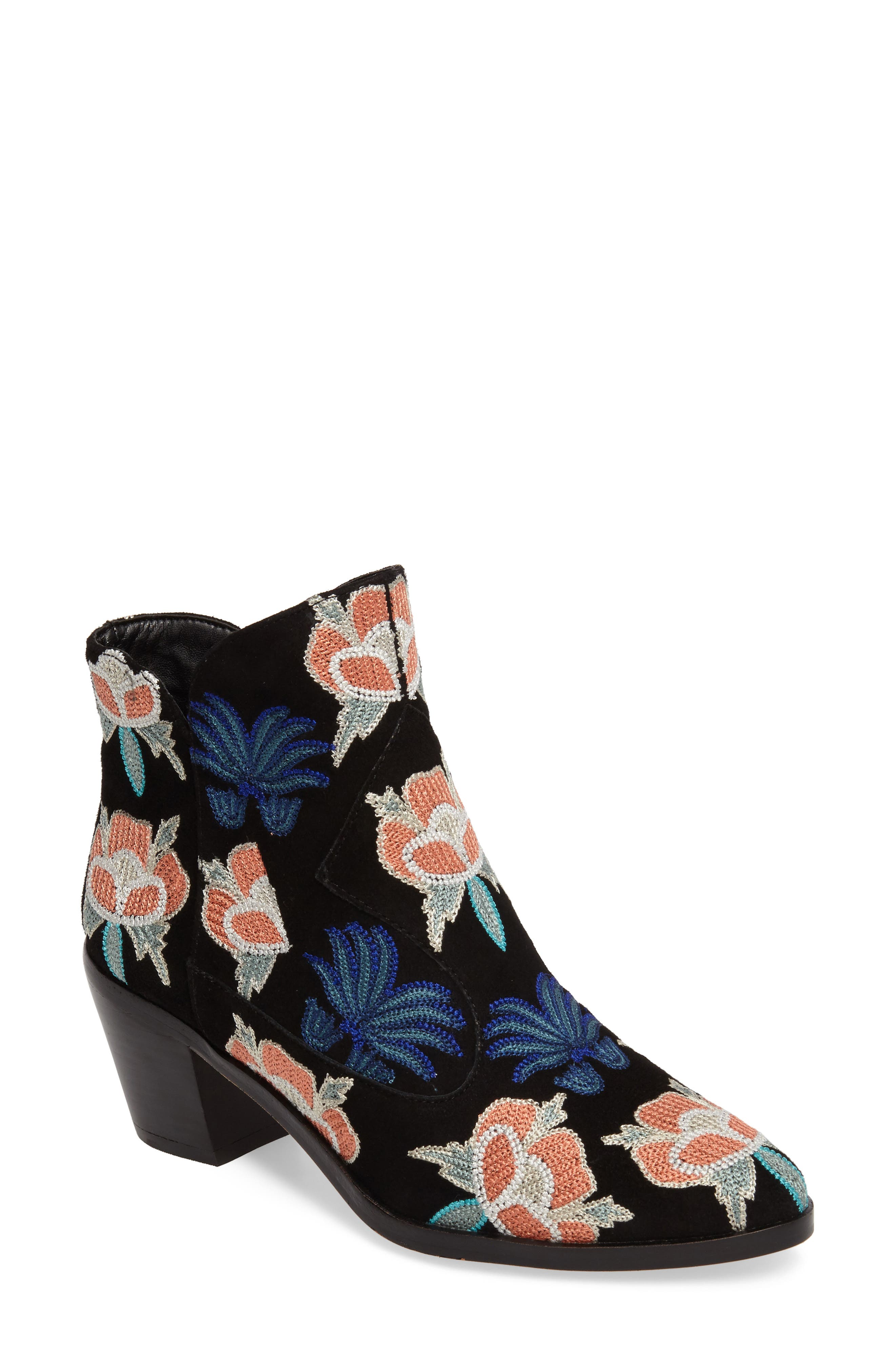Lulu Too Flower Embroidered Bootie,                             Main thumbnail 1, color,                             Black Suede