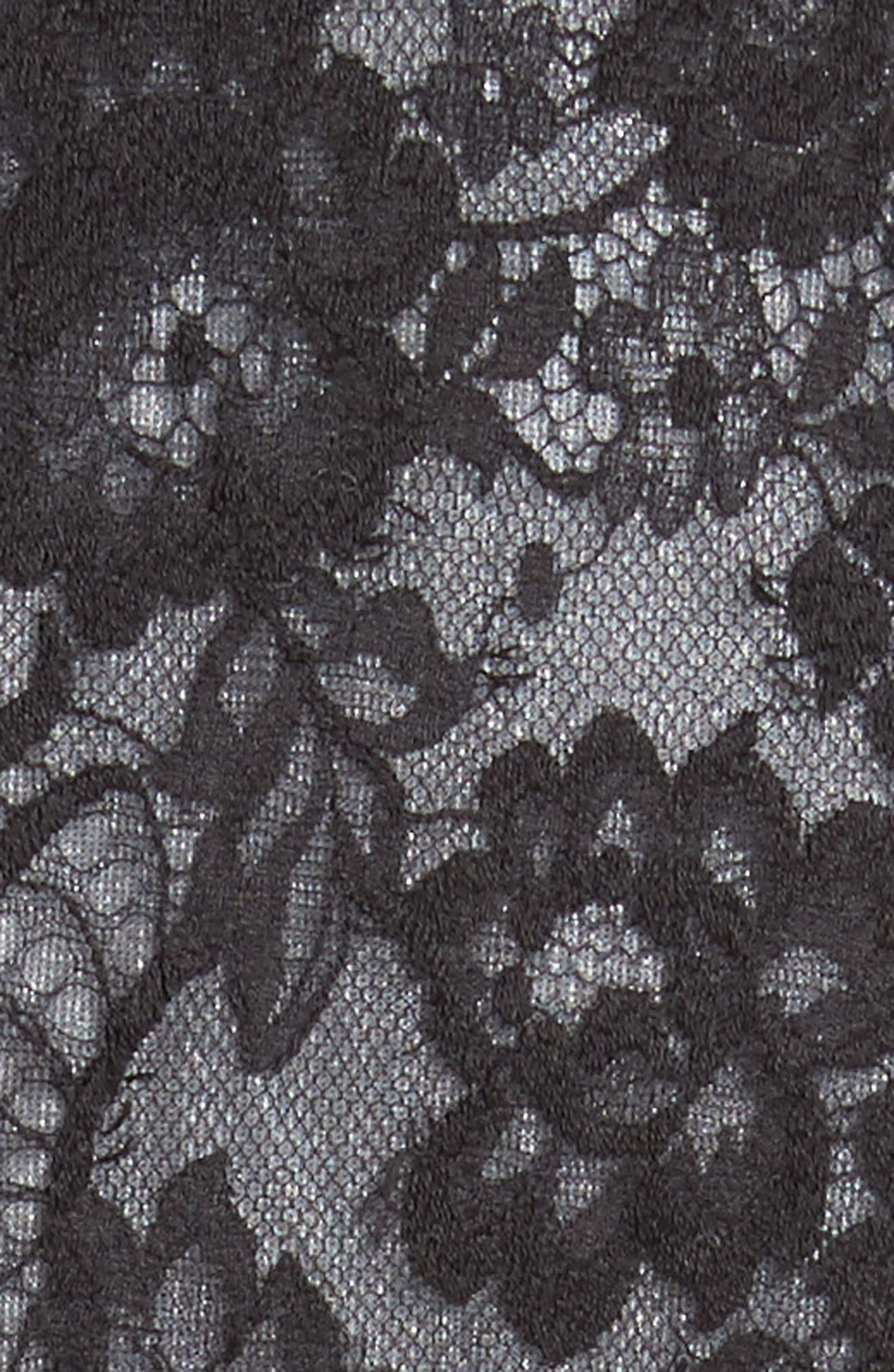 Floral Dress,                             Alternate thumbnail 6, color,                             Black/ Off White