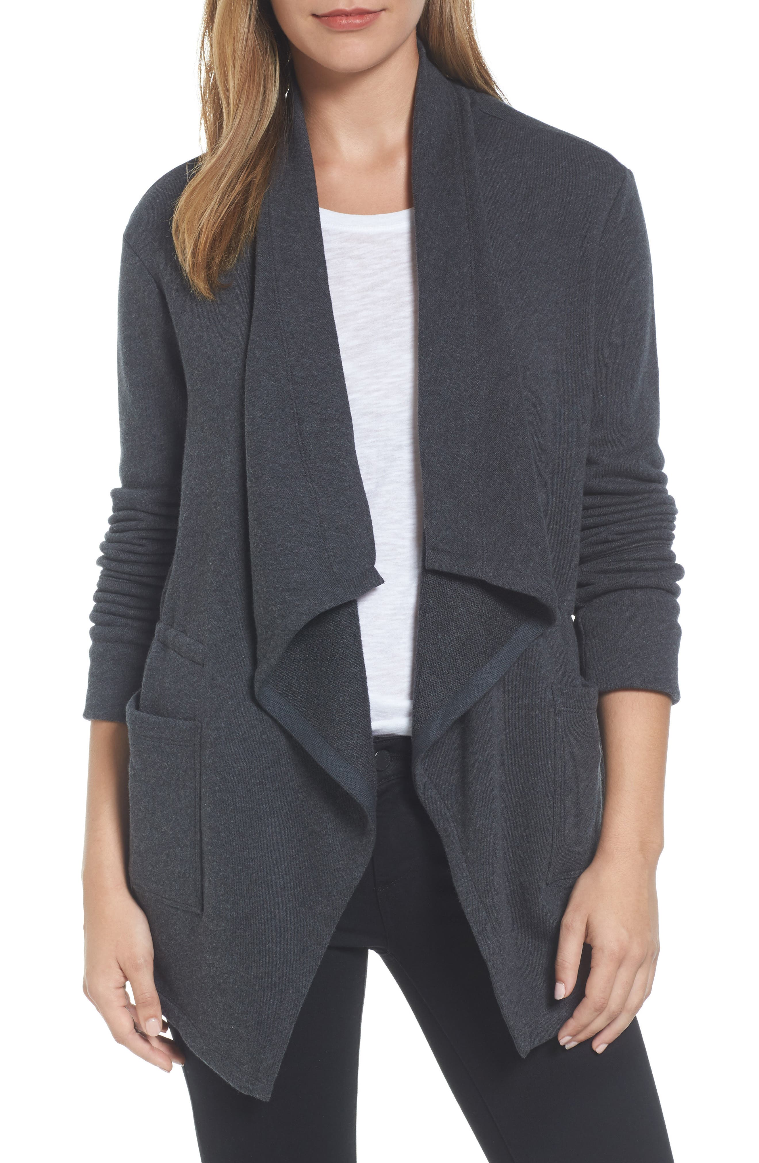 Caslon® Asymmetrical Drape Collar Terry Jacket (Regular & Petite)