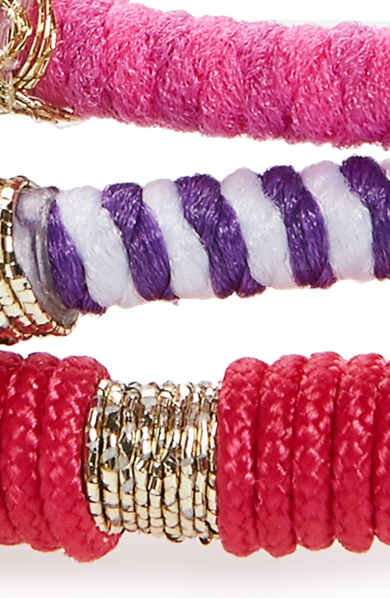 Moroccan Set of 3 Ponytail Holders,                             Alternate thumbnail 3, color,                             Pink/ Purple Multi