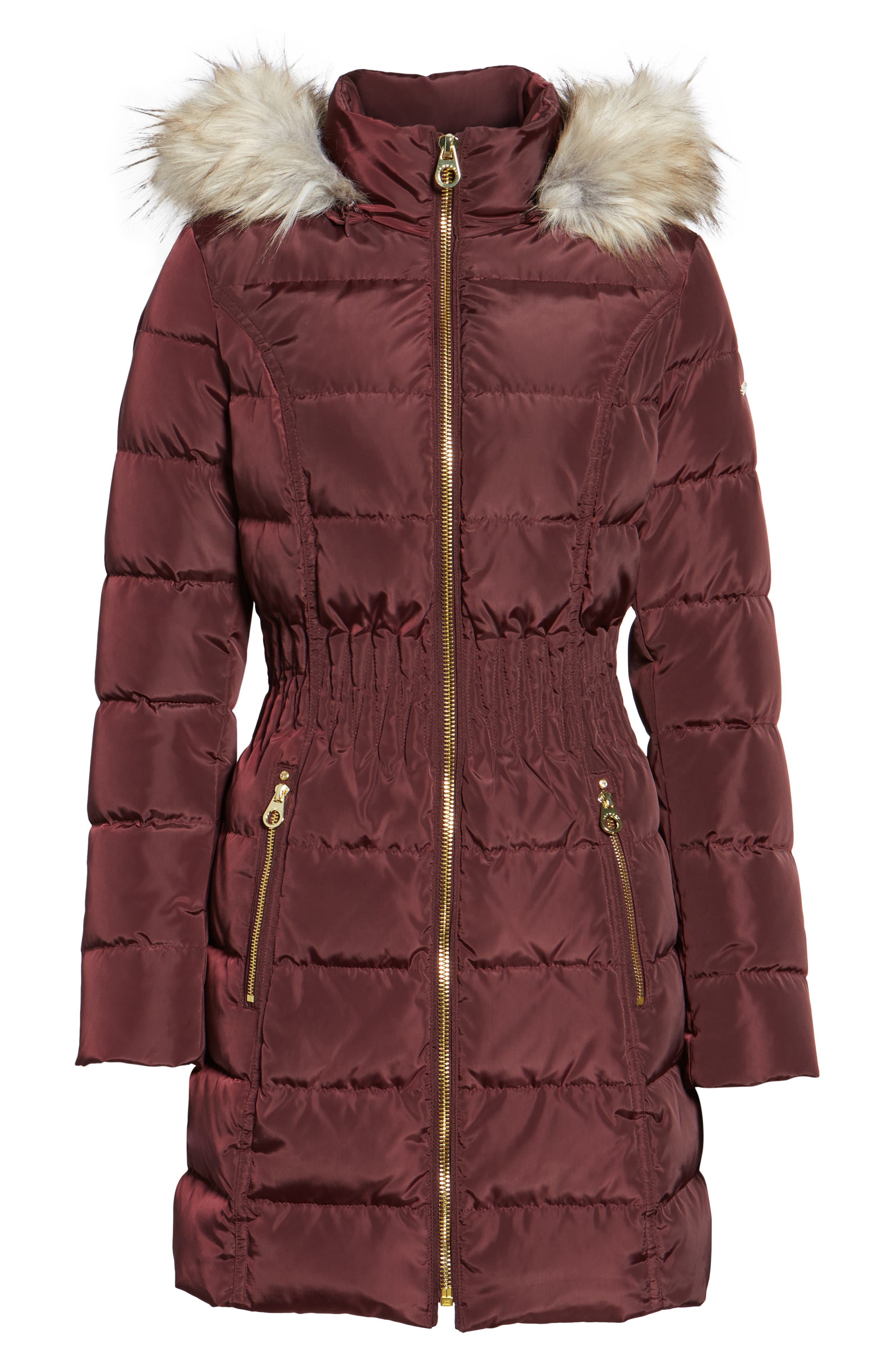 Hooded Quilted Jacket with Faux Fur Trim,                             Alternate thumbnail 6, color,                             Port Royal
