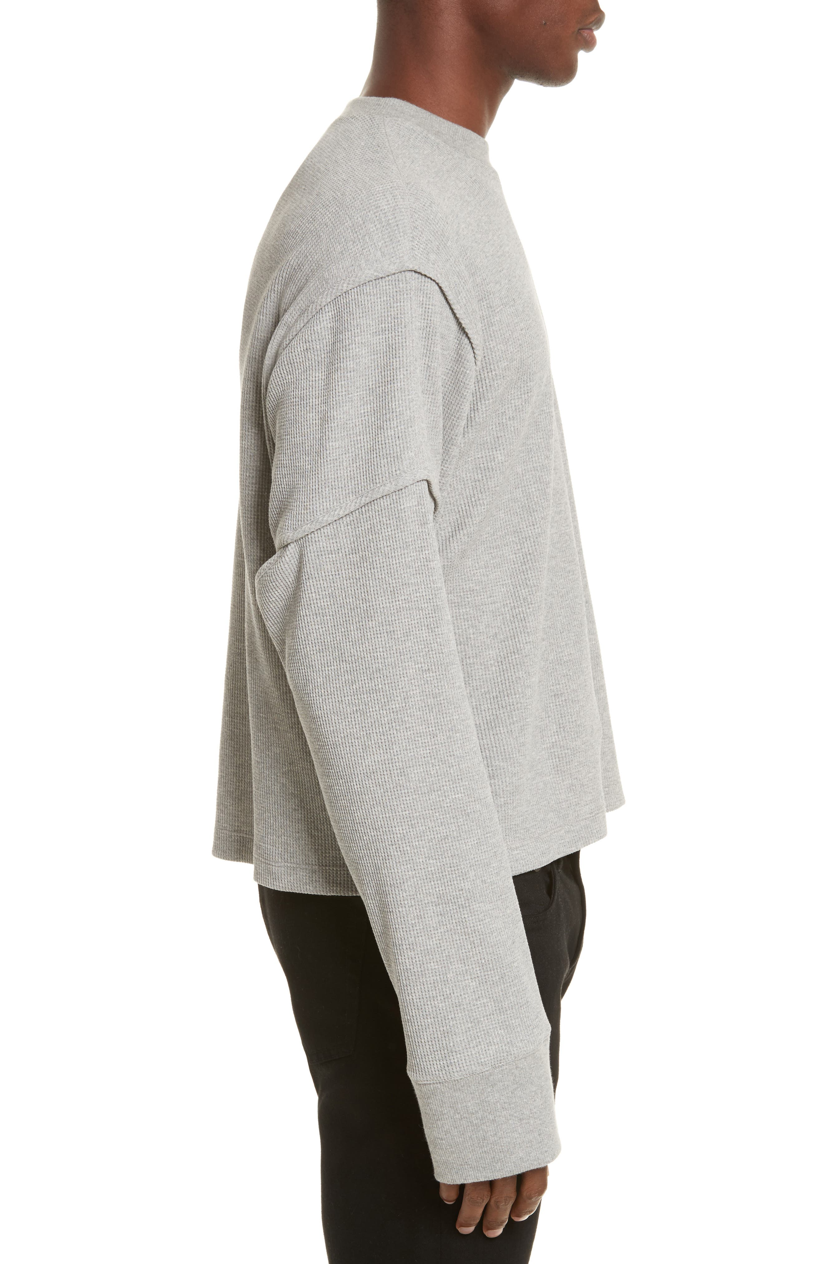 Military Panel Sleeve Thermal Shirt,                             Alternate thumbnail 3, color,                             Grey Melange