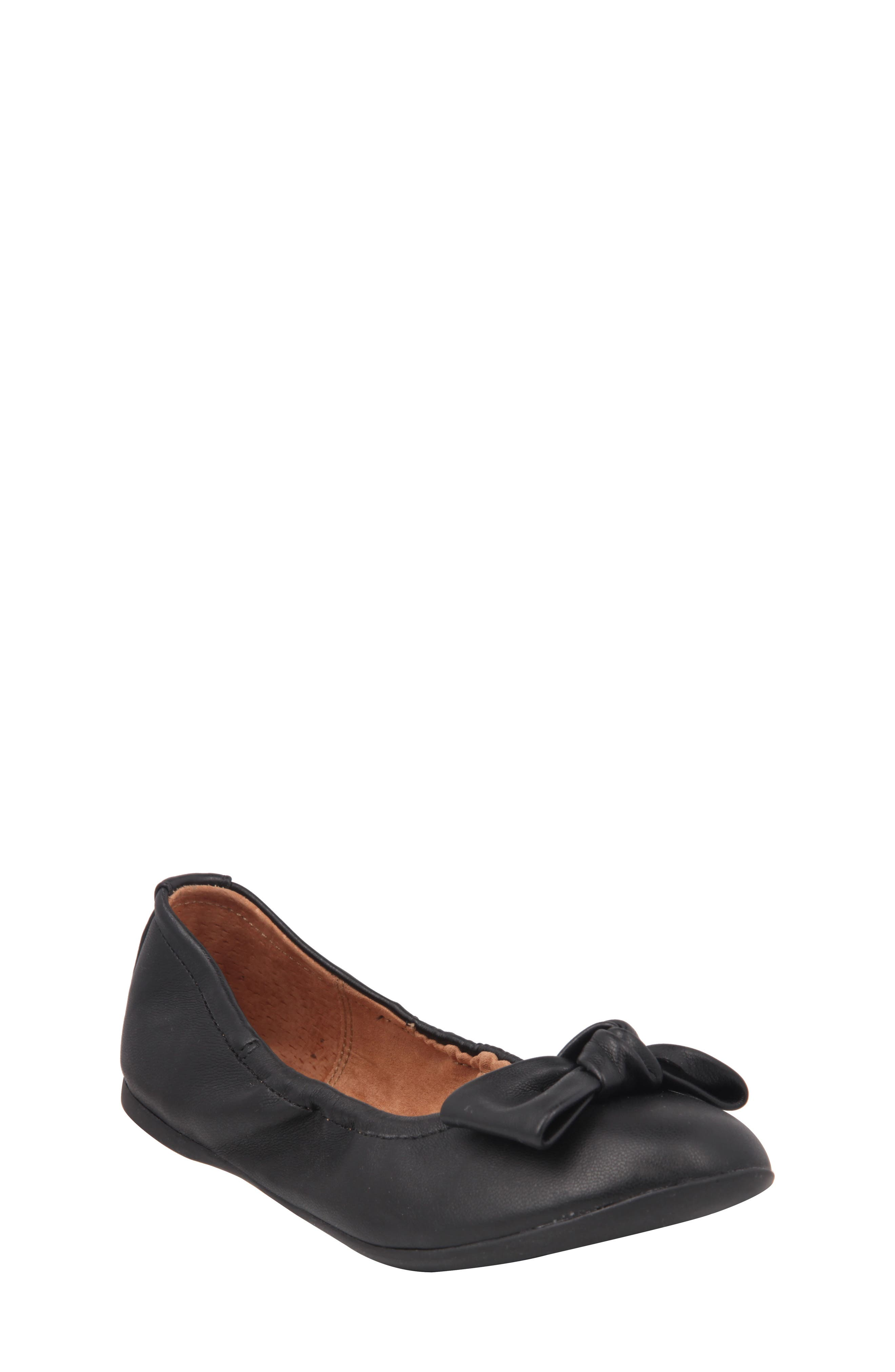 Karla Bow Ballet Flat,                             Main thumbnail 1, color,                             Black Smooth Leather