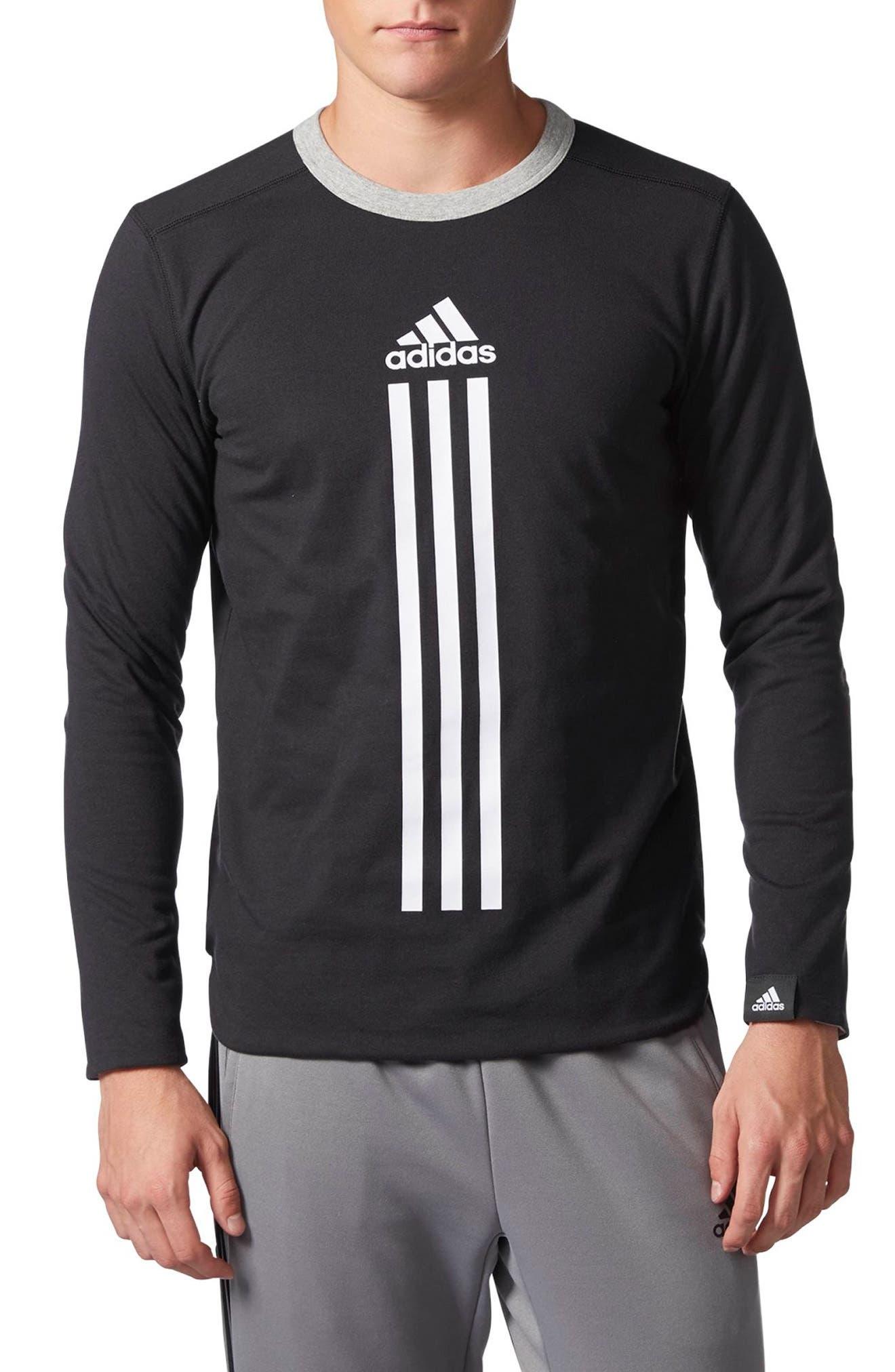 ID Long Sleeve Performance T-Shirt,                         Main,                         color, Black/ Medium Grey Heather