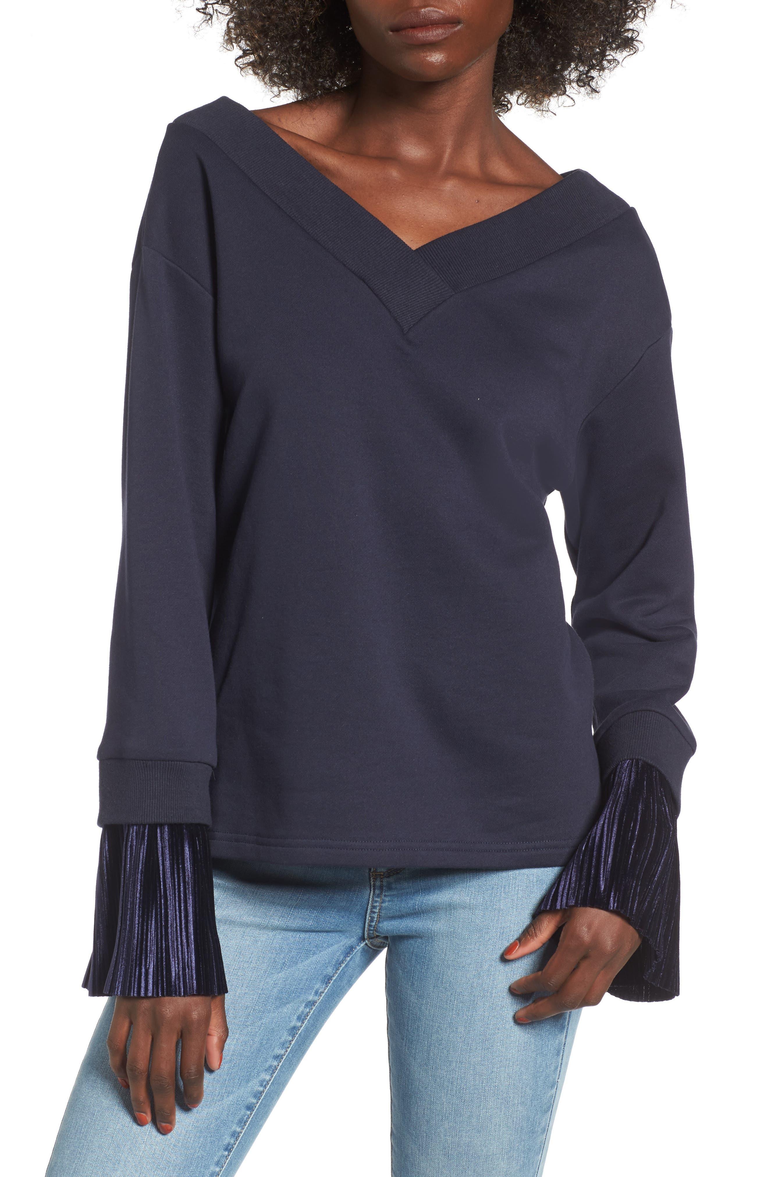 Ruffle Cuff Sweatshirt,                         Main,                         color, Navy