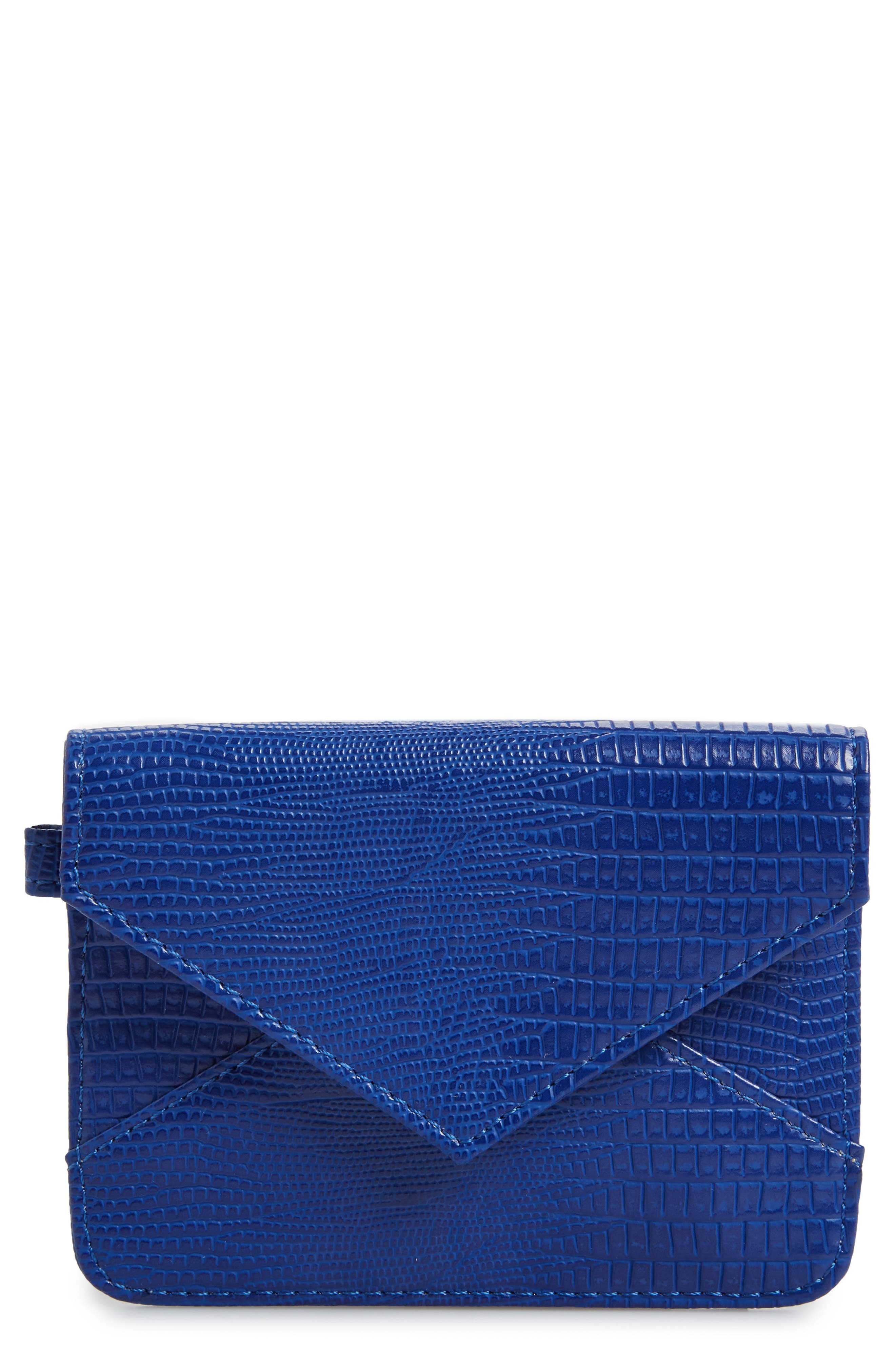 BP. Embossed Faux Leather Flap Card Case
