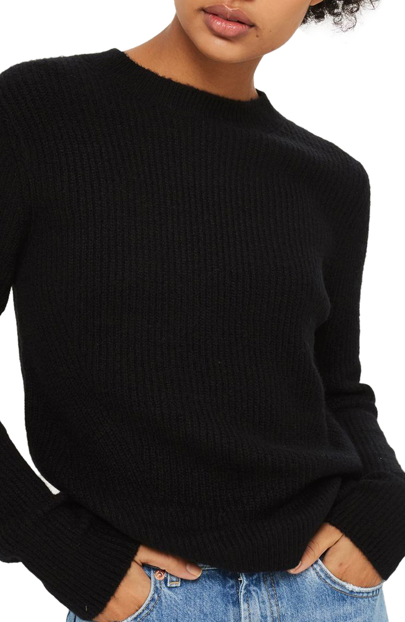 Ribbed Crewneck Sweater,                         Main,                         color, Black