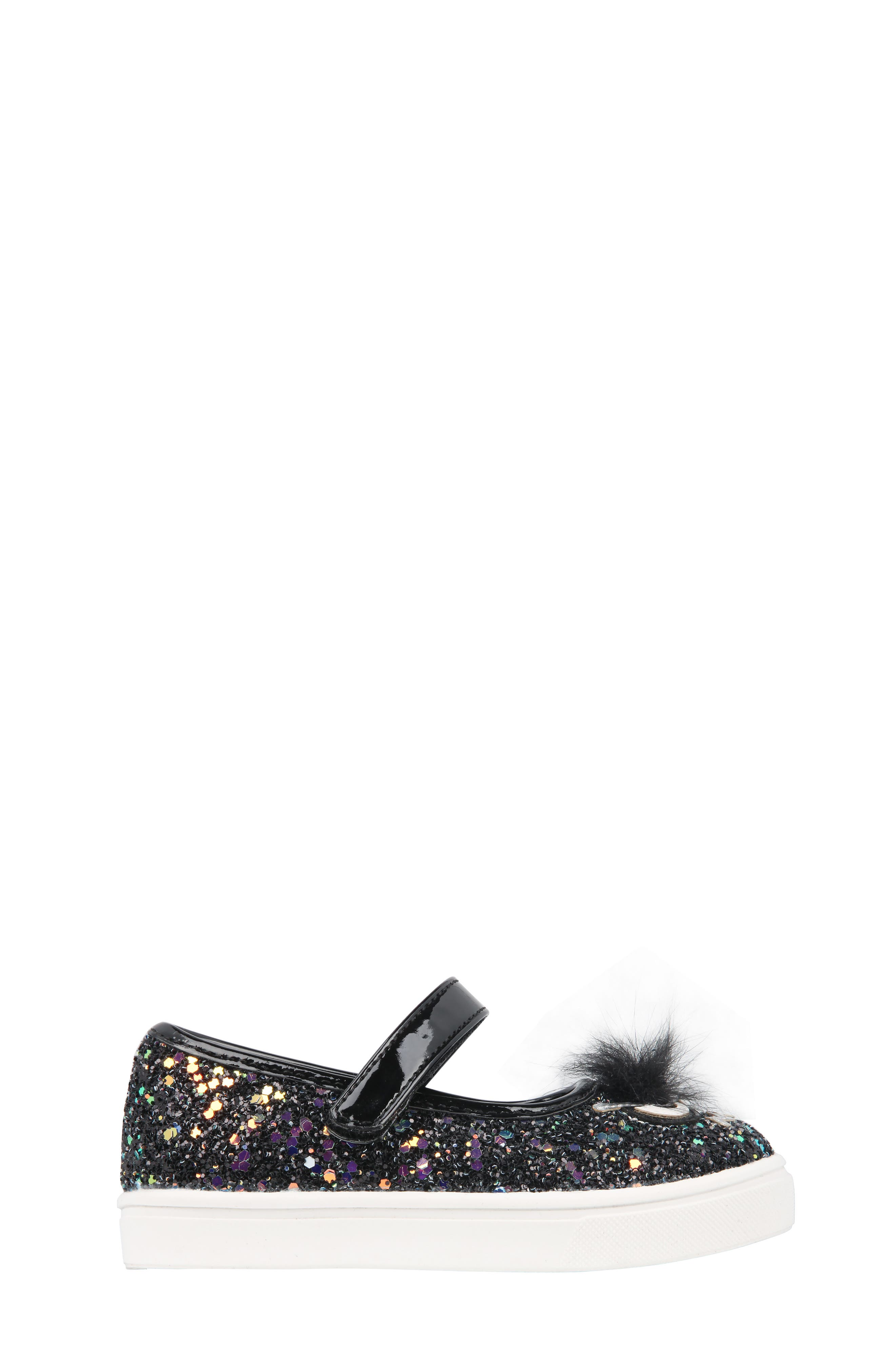 Alyx Faux Fur Glittery Mary Jane Sneaker,                             Alternate thumbnail 3, color,                             Black Chunky Glitter