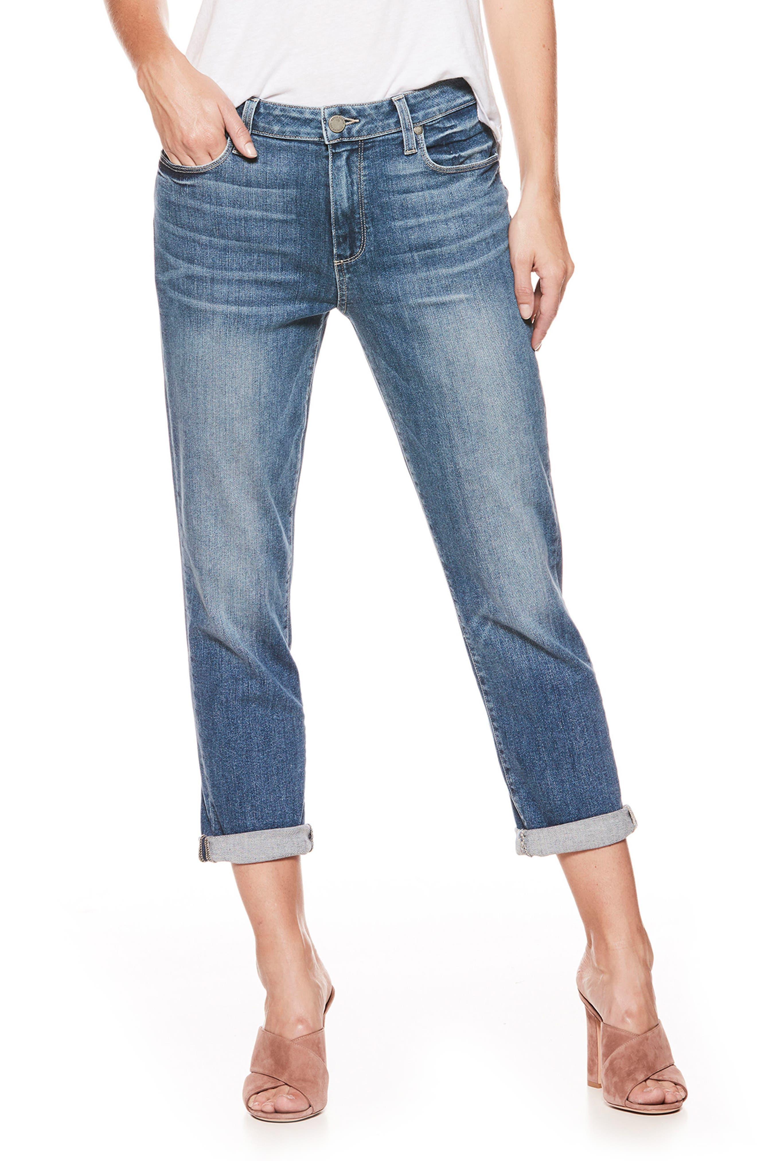 PAIGE Jimmy Jimmy High Waist Crop Boyfriend Jeans (Kanan)