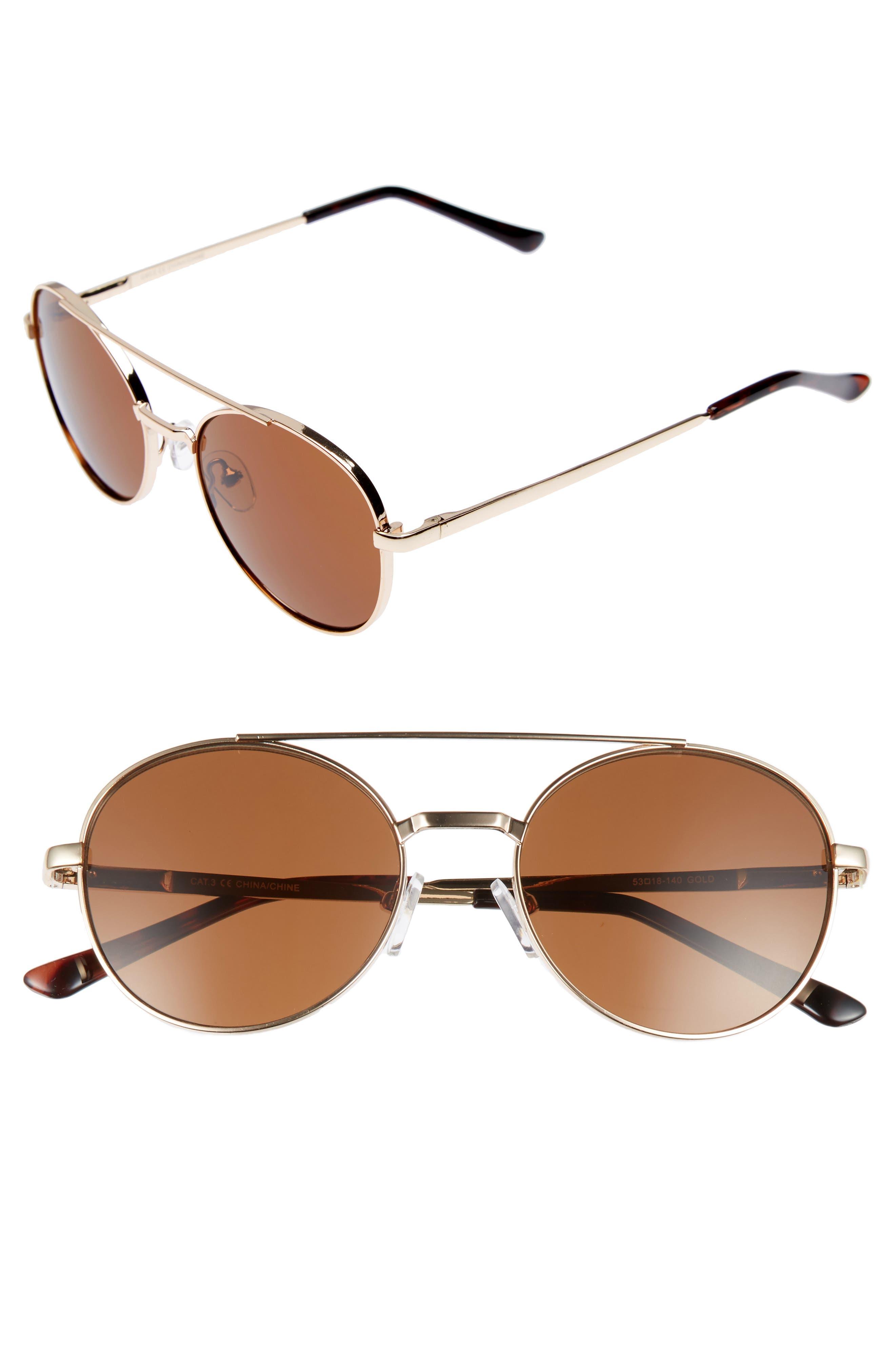 Logan 52mm Sunglasses,                             Main thumbnail 1, color,                             Gold/ Brown