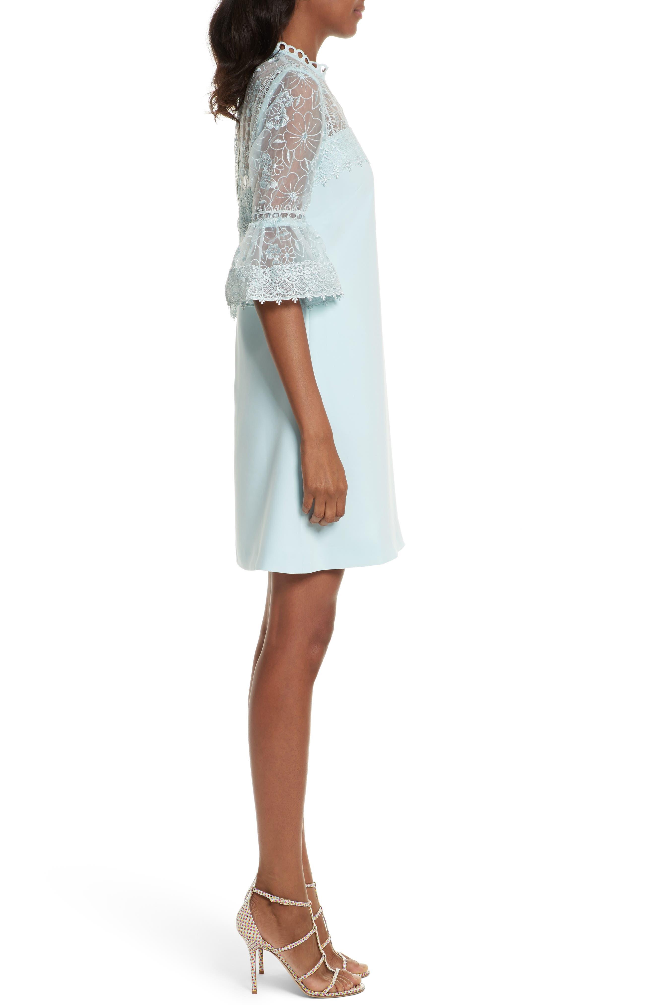 Raechal Lace Sleeve A-Line Dress,                             Alternate thumbnail 3, color,                             Pale Blue