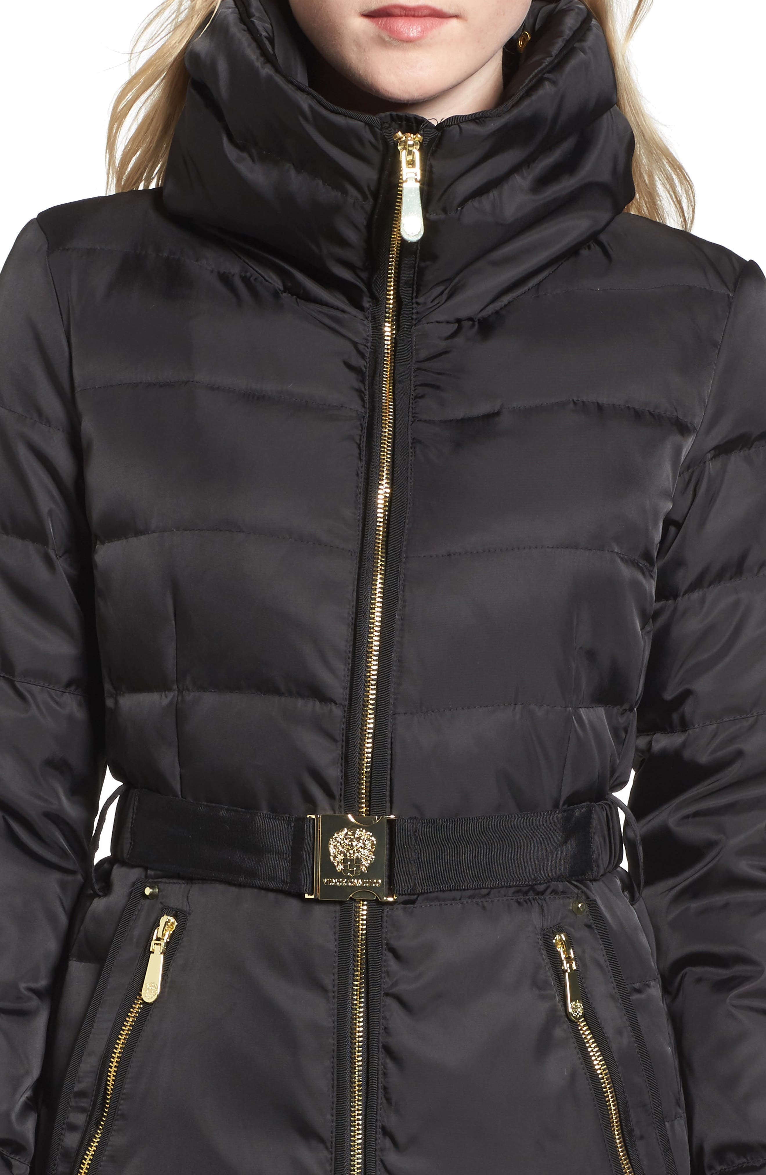 Belted Coat with Detachable Faux Fur,                             Alternate thumbnail 4, color,                             Black