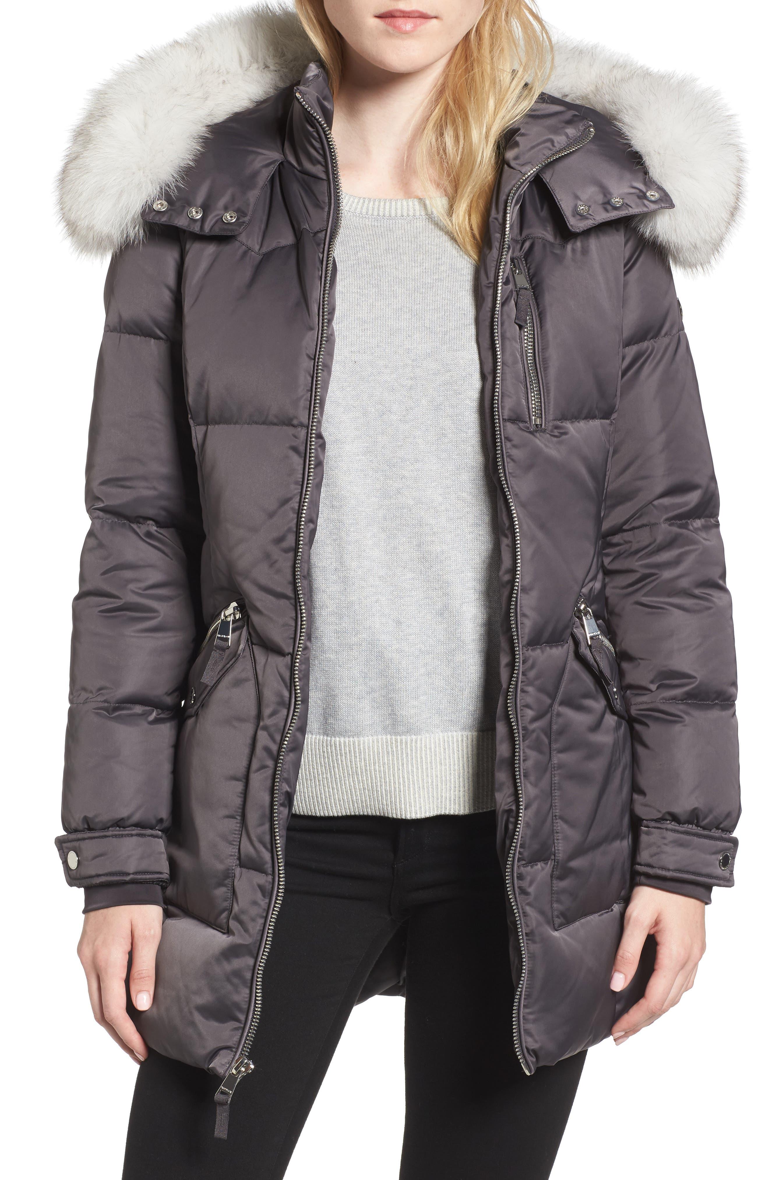 1 Madison Puffer Jacket with Genuine Fox Fur Trim