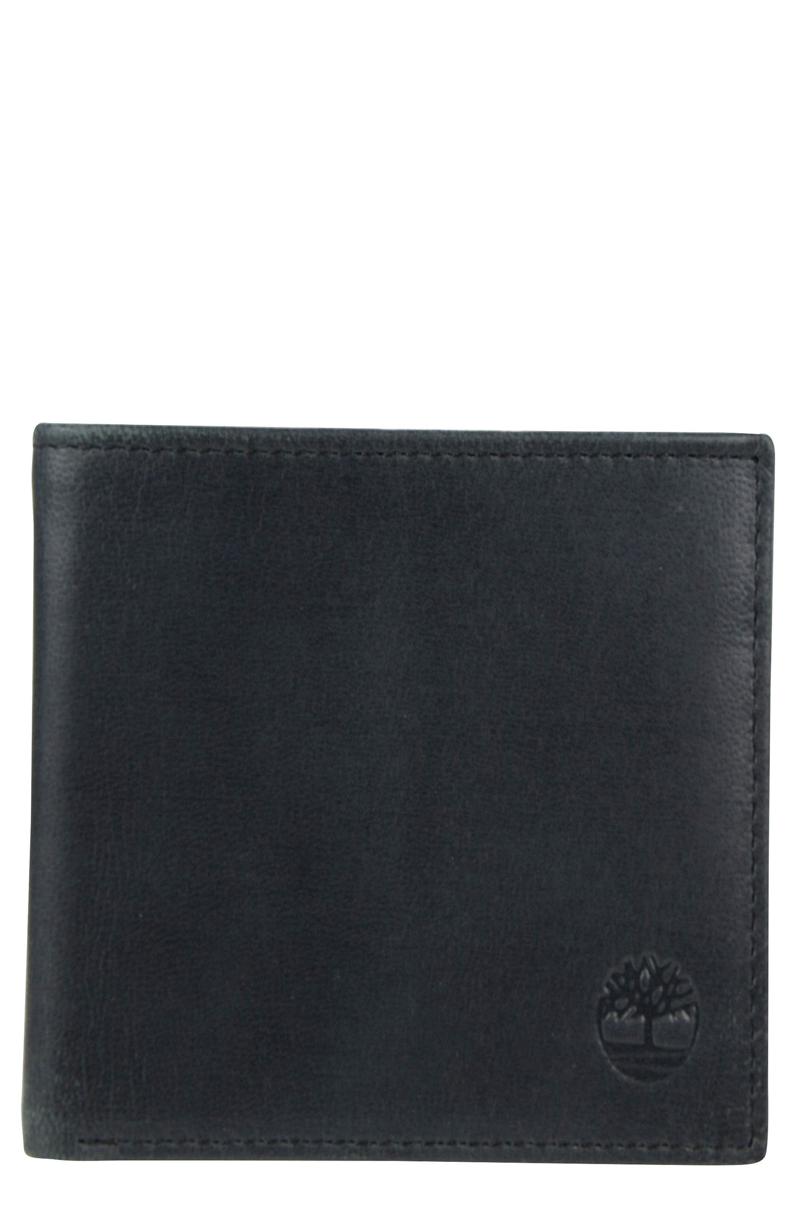Cloudy Leather Wallet,                         Main,                         color, Black