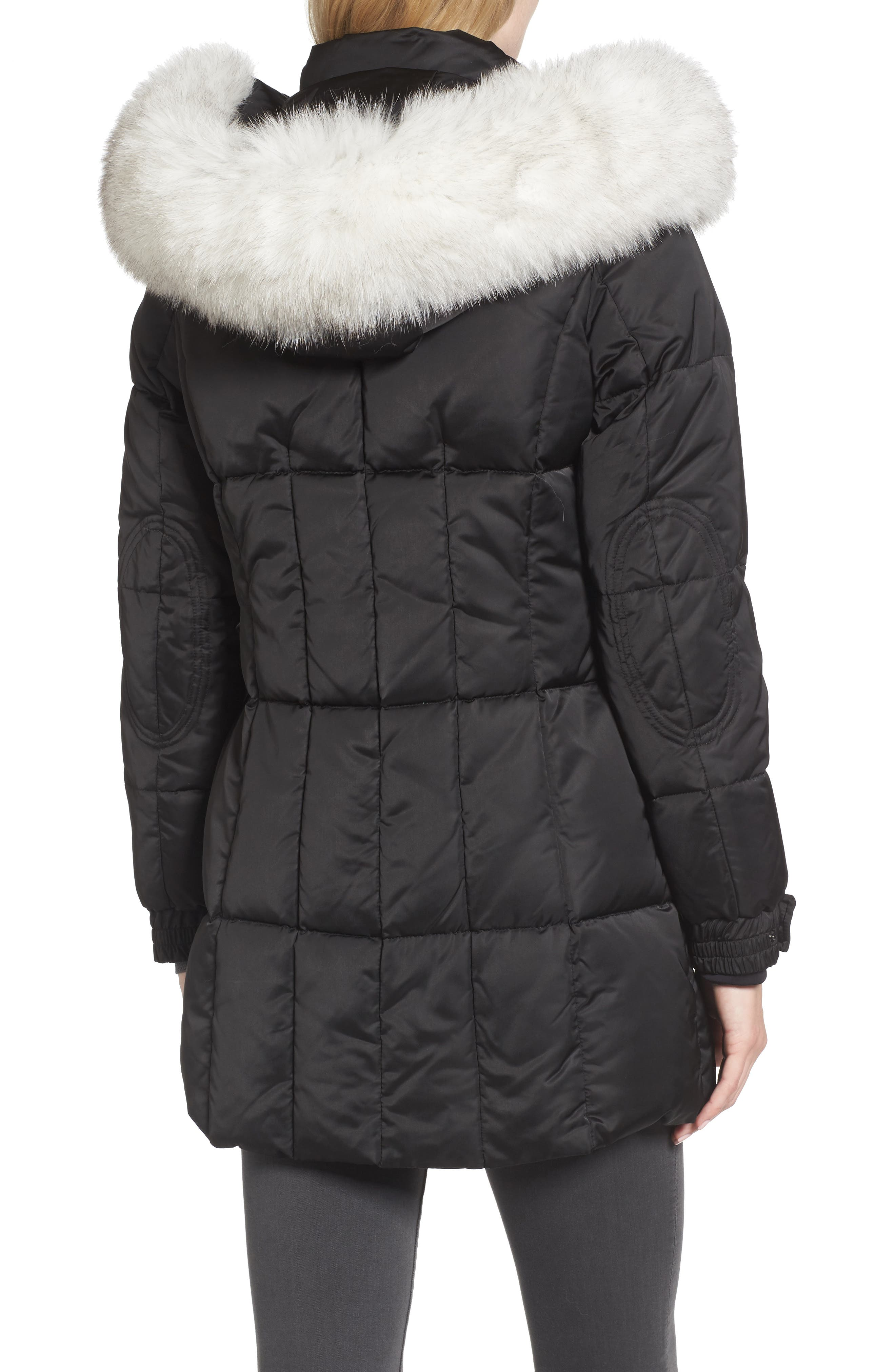 Puffer Jacket with Genuine Fox Fur Trim,                             Alternate thumbnail 2, color,                             Black