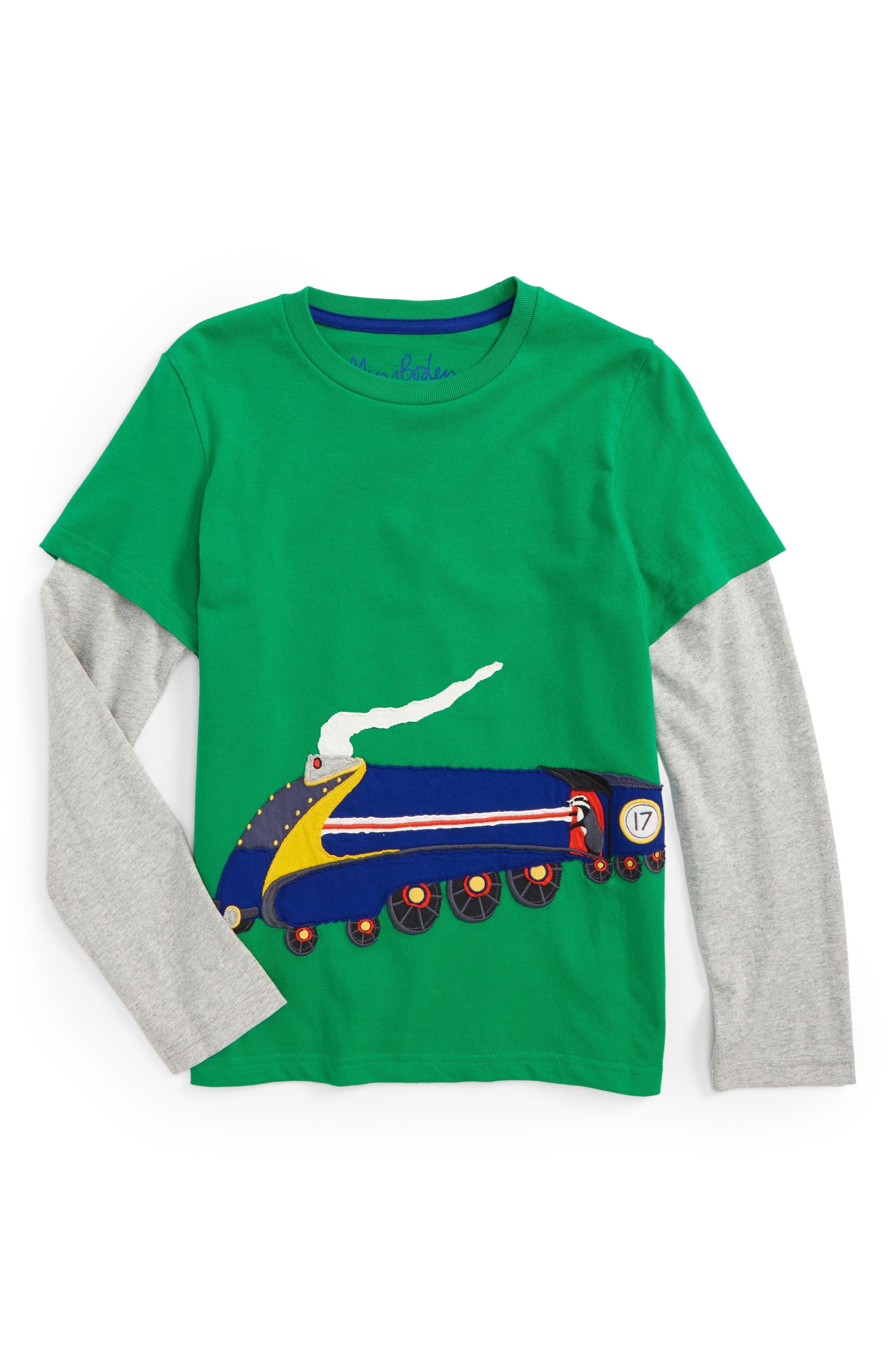 Vehicle Appliqué Layer T-Shirt,                         Main,                         color, Crocodile Green Train