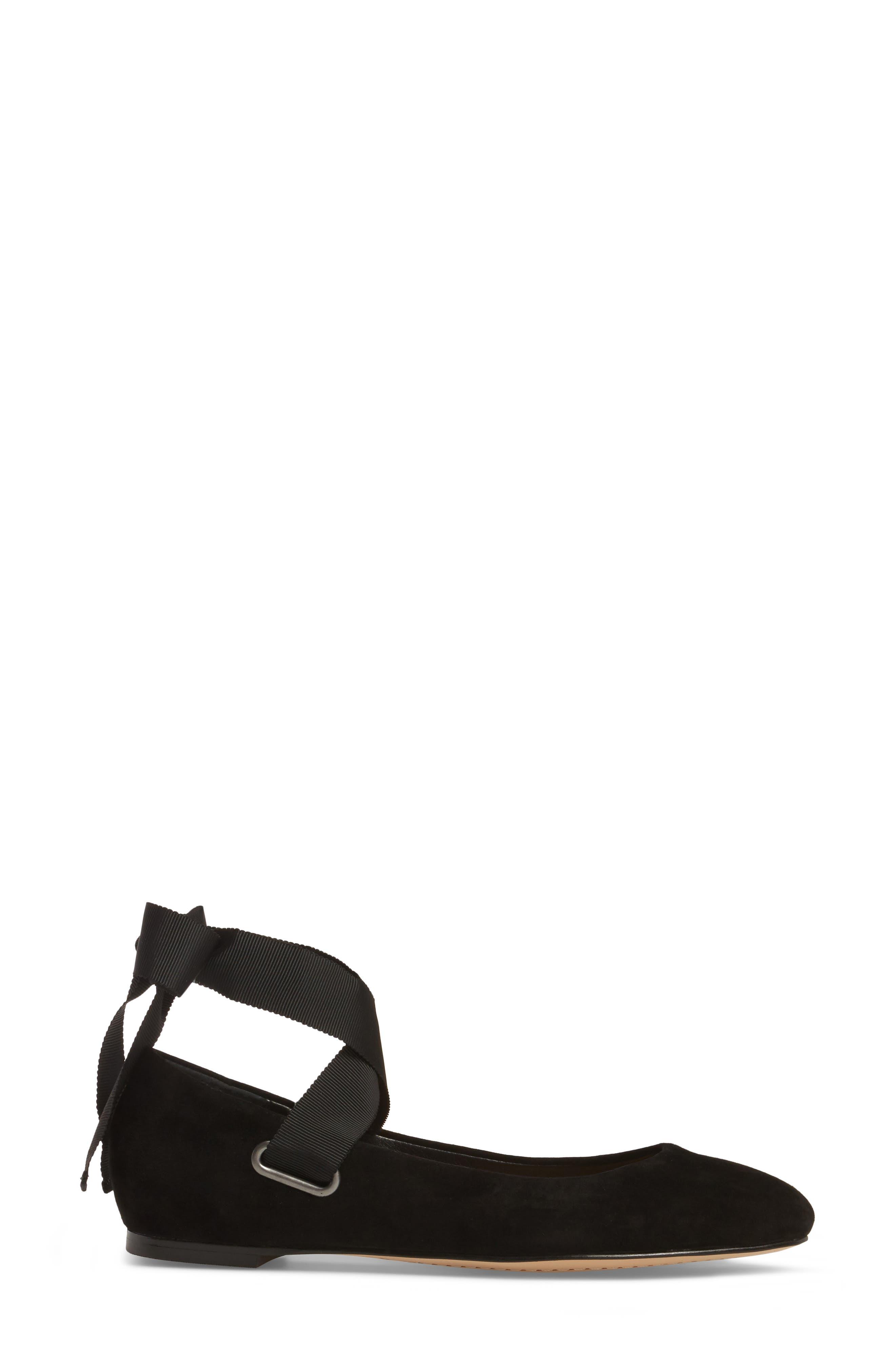 Renee Ankle Tie Flat,                             Alternate thumbnail 3, color,                             Black Suede