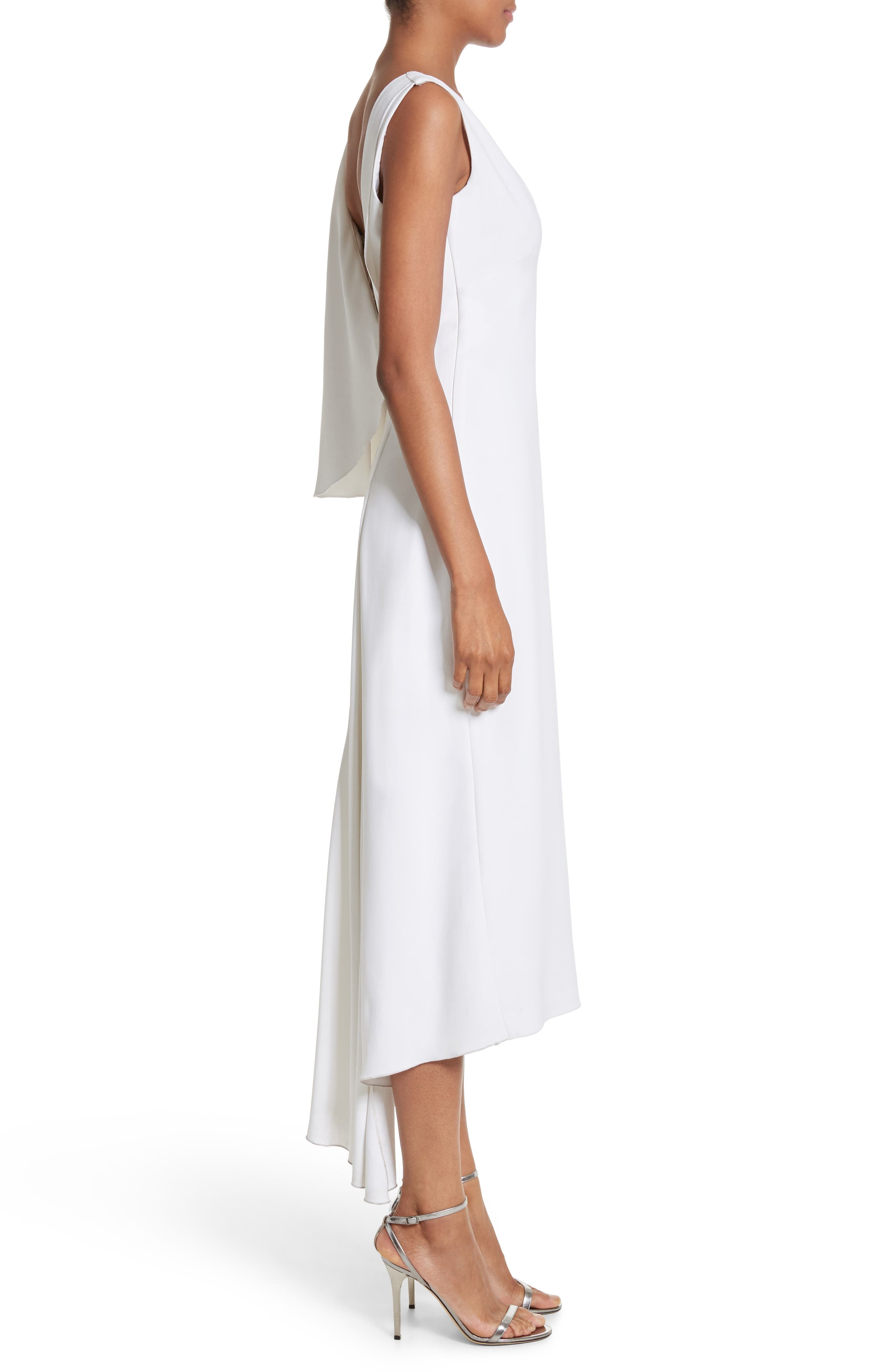 Leta Drape Dress,                             Alternate thumbnail 4, color,                             White