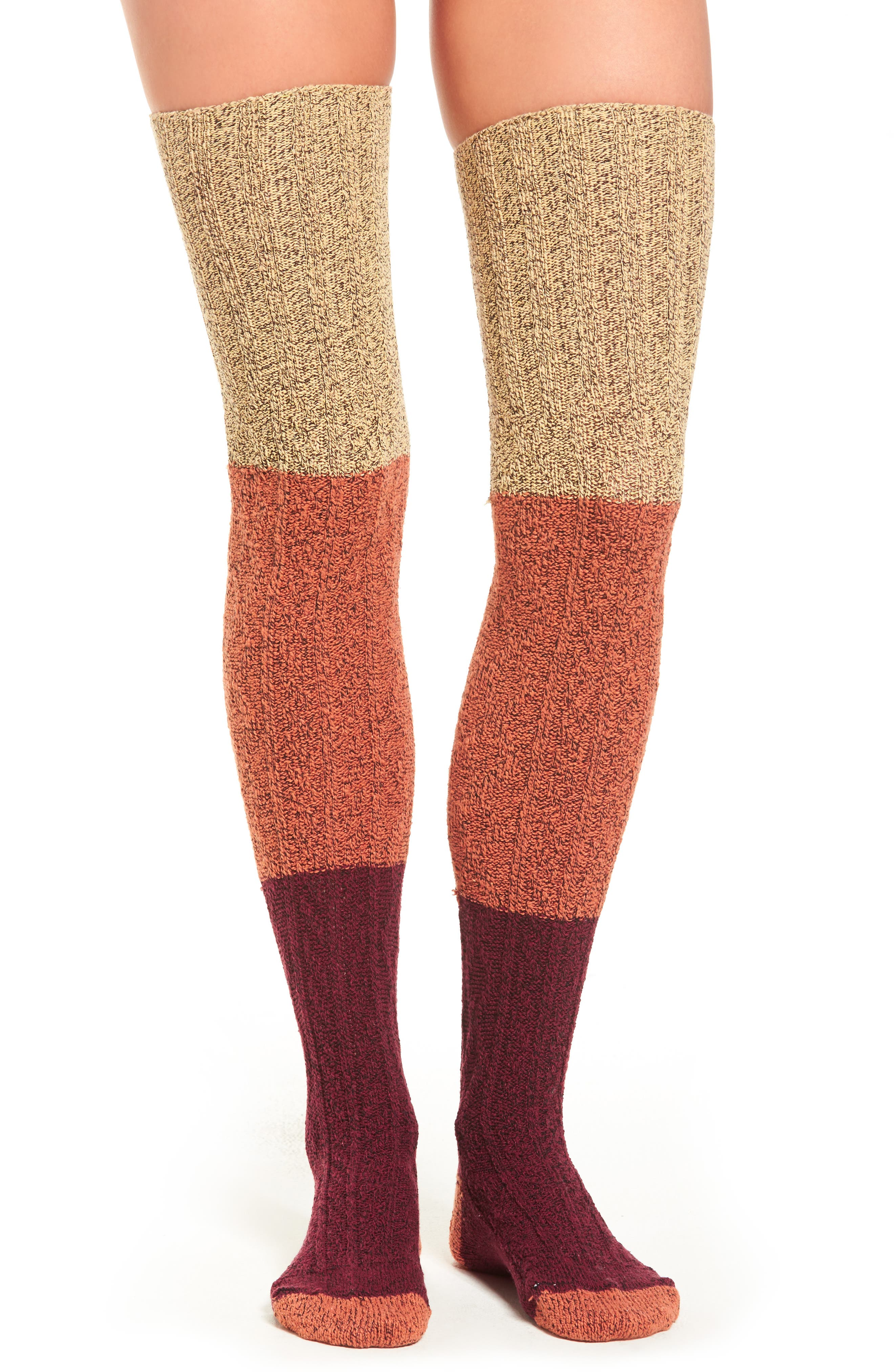 Colorblock Thigh High Sweater Socks,                         Main,                         color, Wine