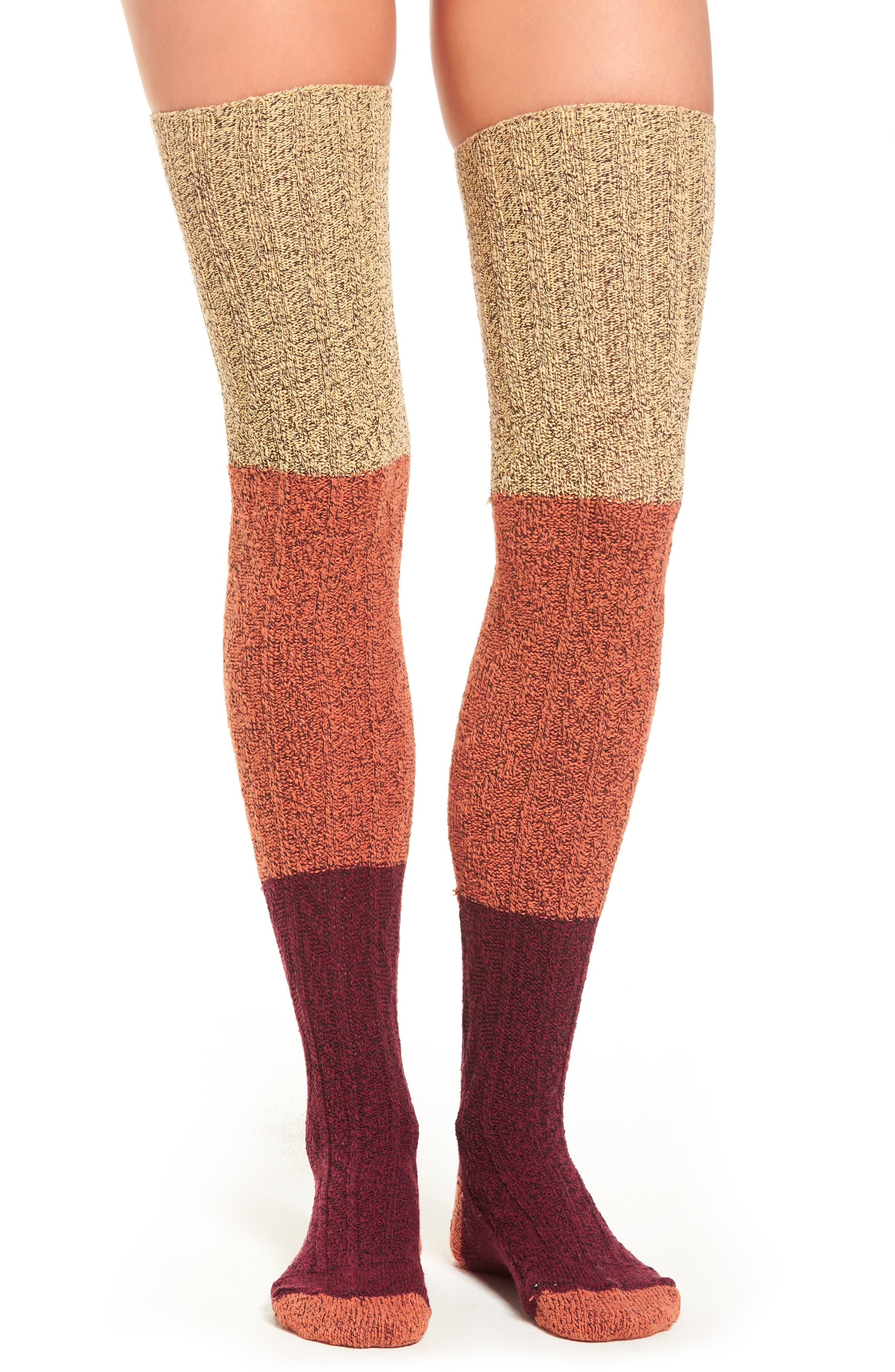 Peony & Moss Colorblock Thigh High Sweater Socks
