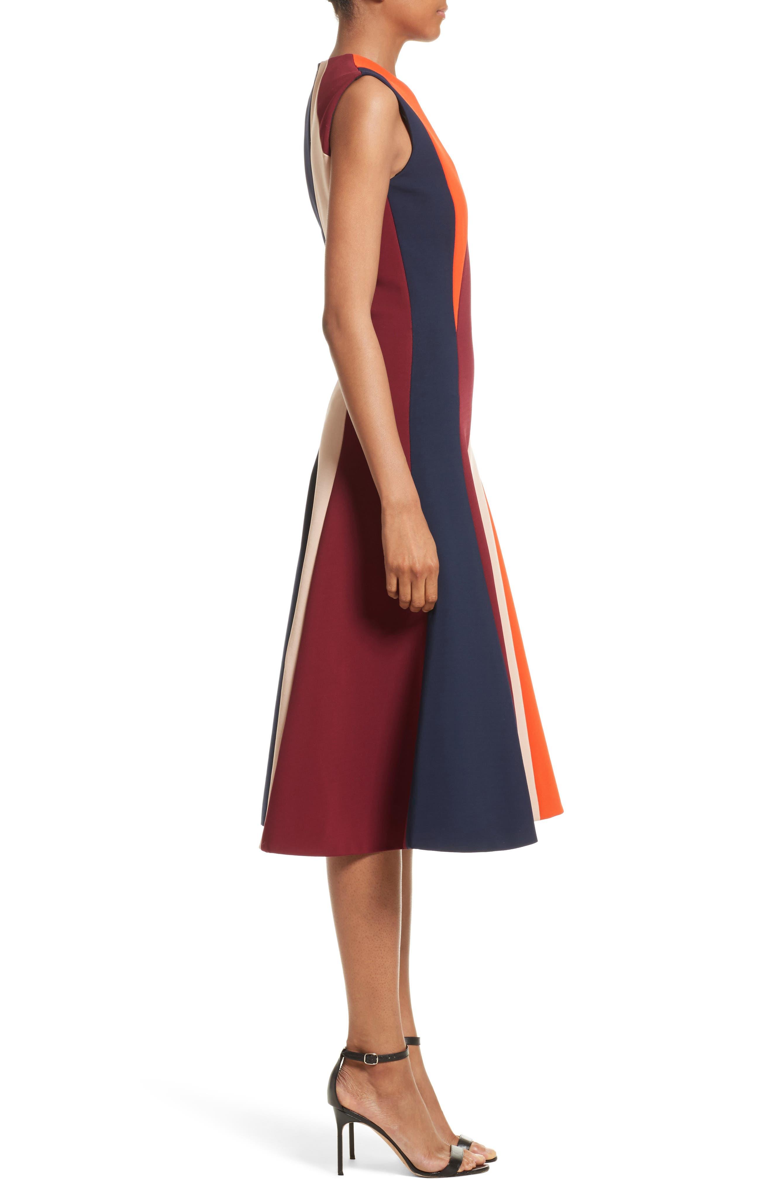 Stripe Flare Dress,                             Alternate thumbnail 4, color,                             Multi