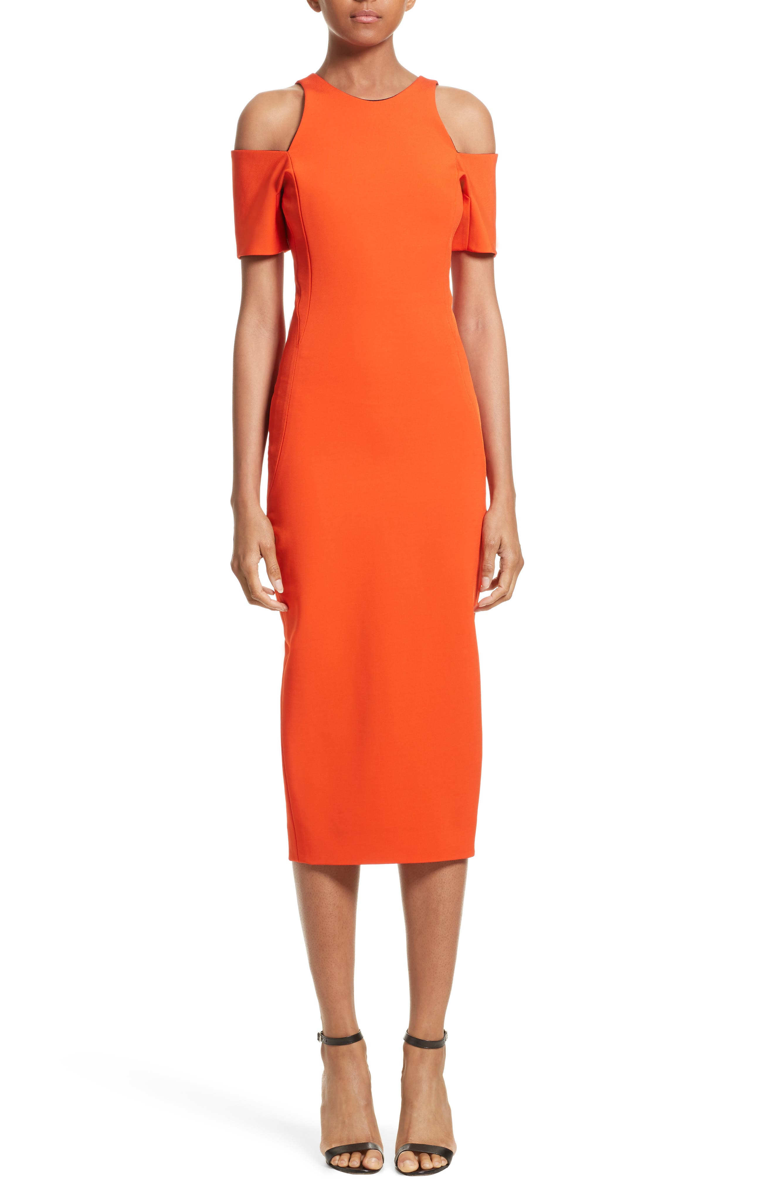 Cold Shoulder Sheath Dress,                         Main,                         color, Sunset
