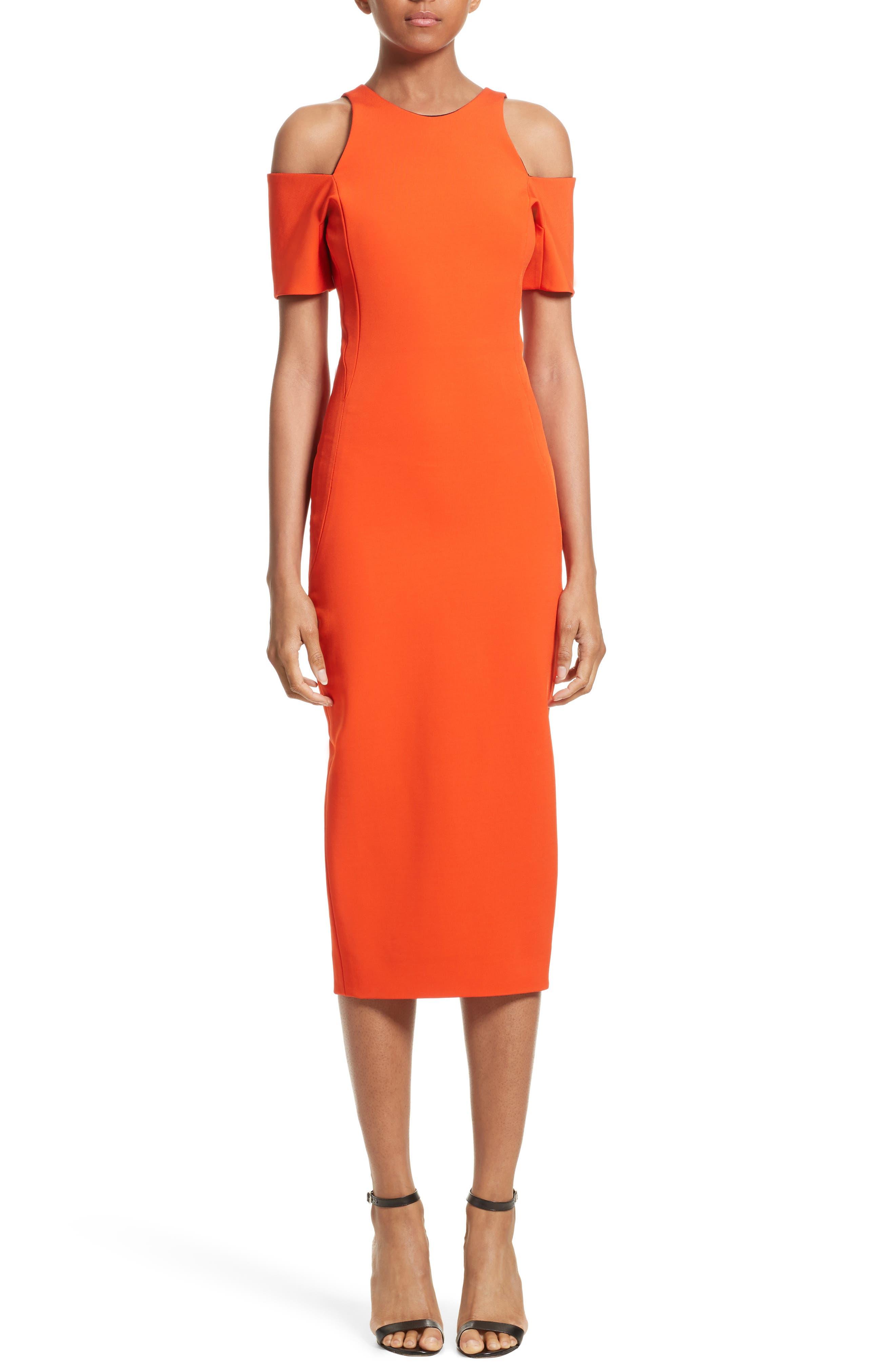 Victoria Beckham Cold Shoulder Sheath Dress