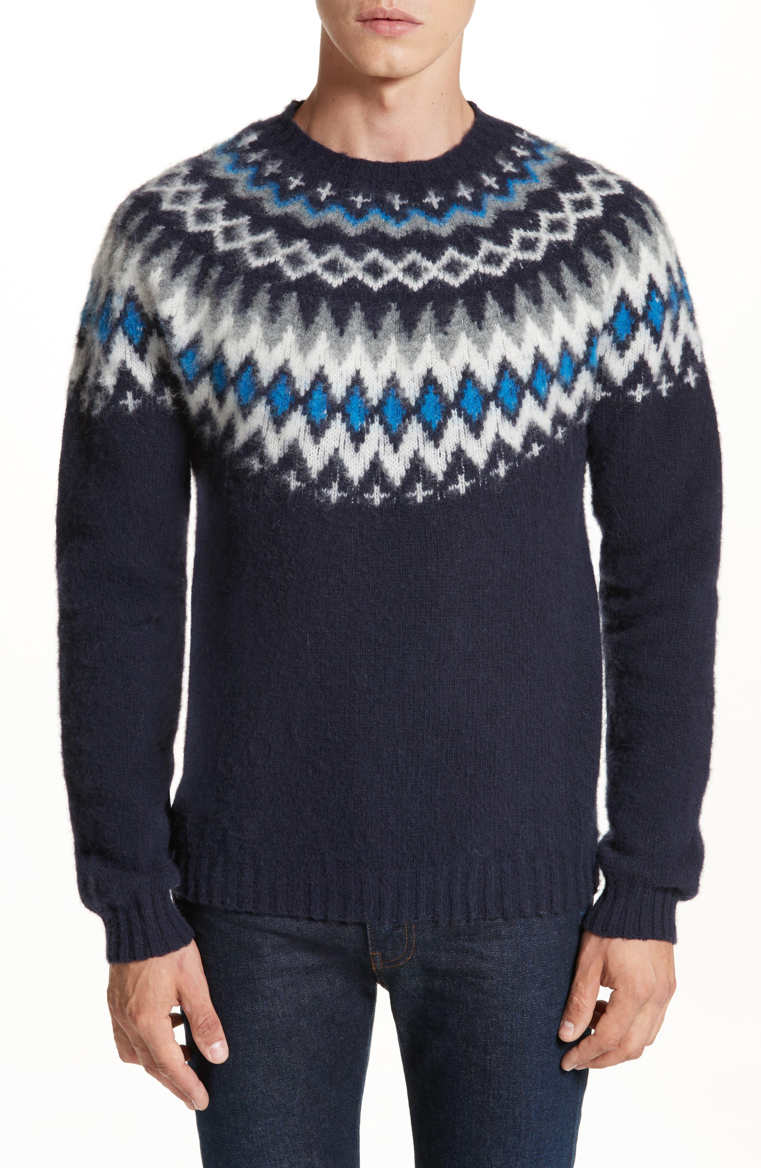 Nirnir Fair Isle Lambswool Sweater,                             Main thumbnail 1, color,                             Navy