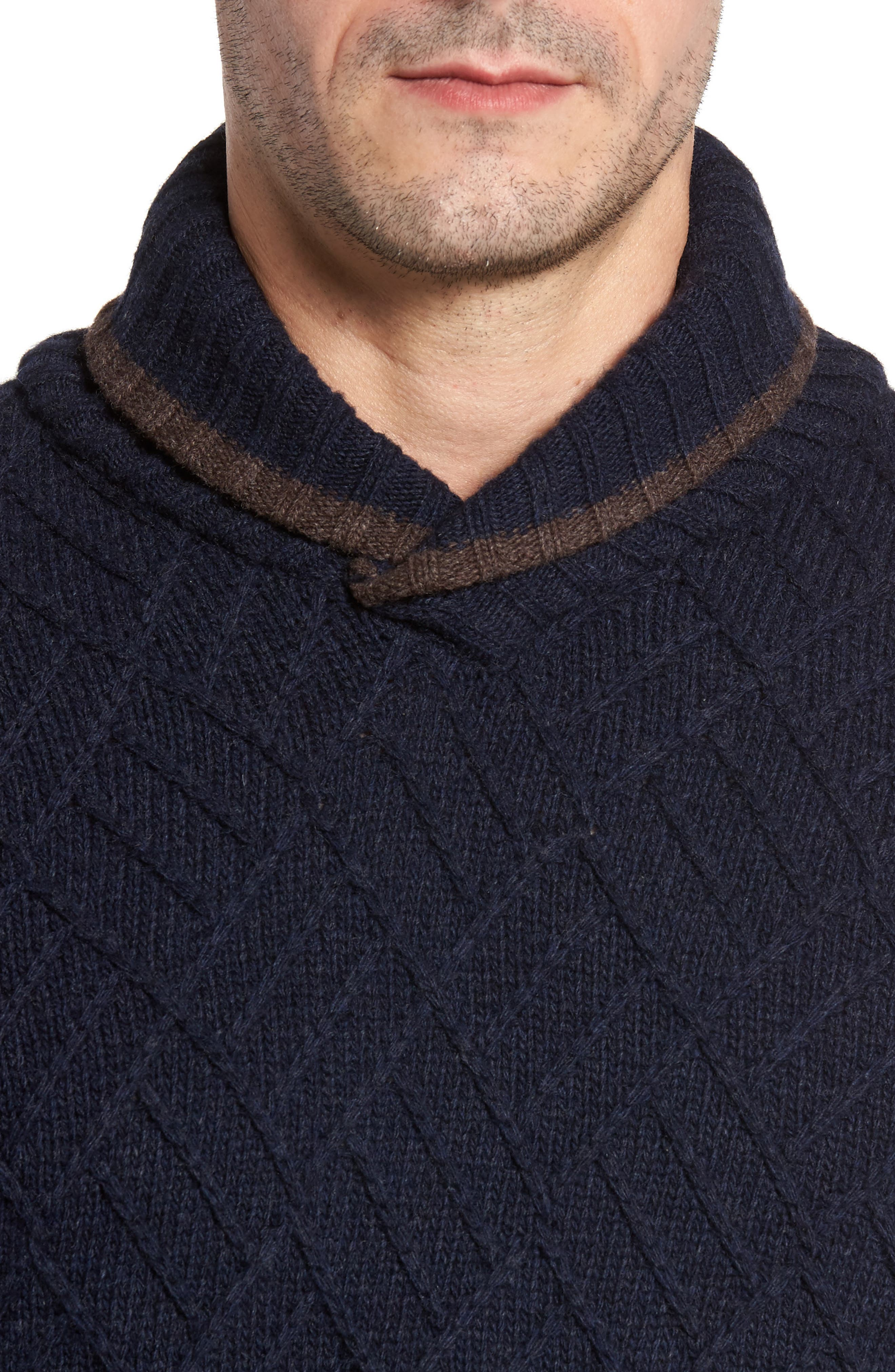 Textured Wool Sweater,                             Alternate thumbnail 4, color,                             Navy