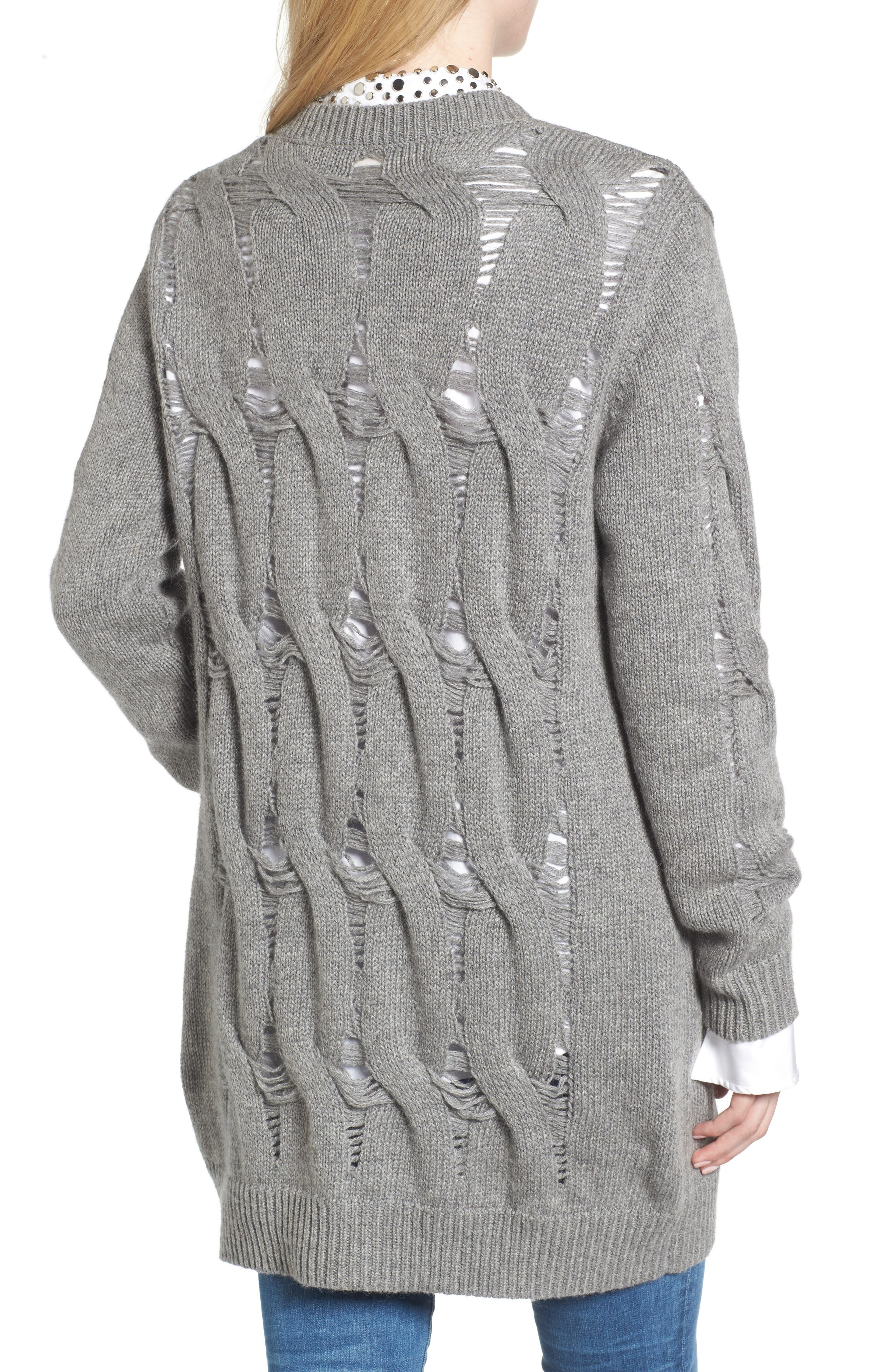 Sandrine Longline Cardigan Sweater,                             Alternate thumbnail 2, color,                             Pebble Grey