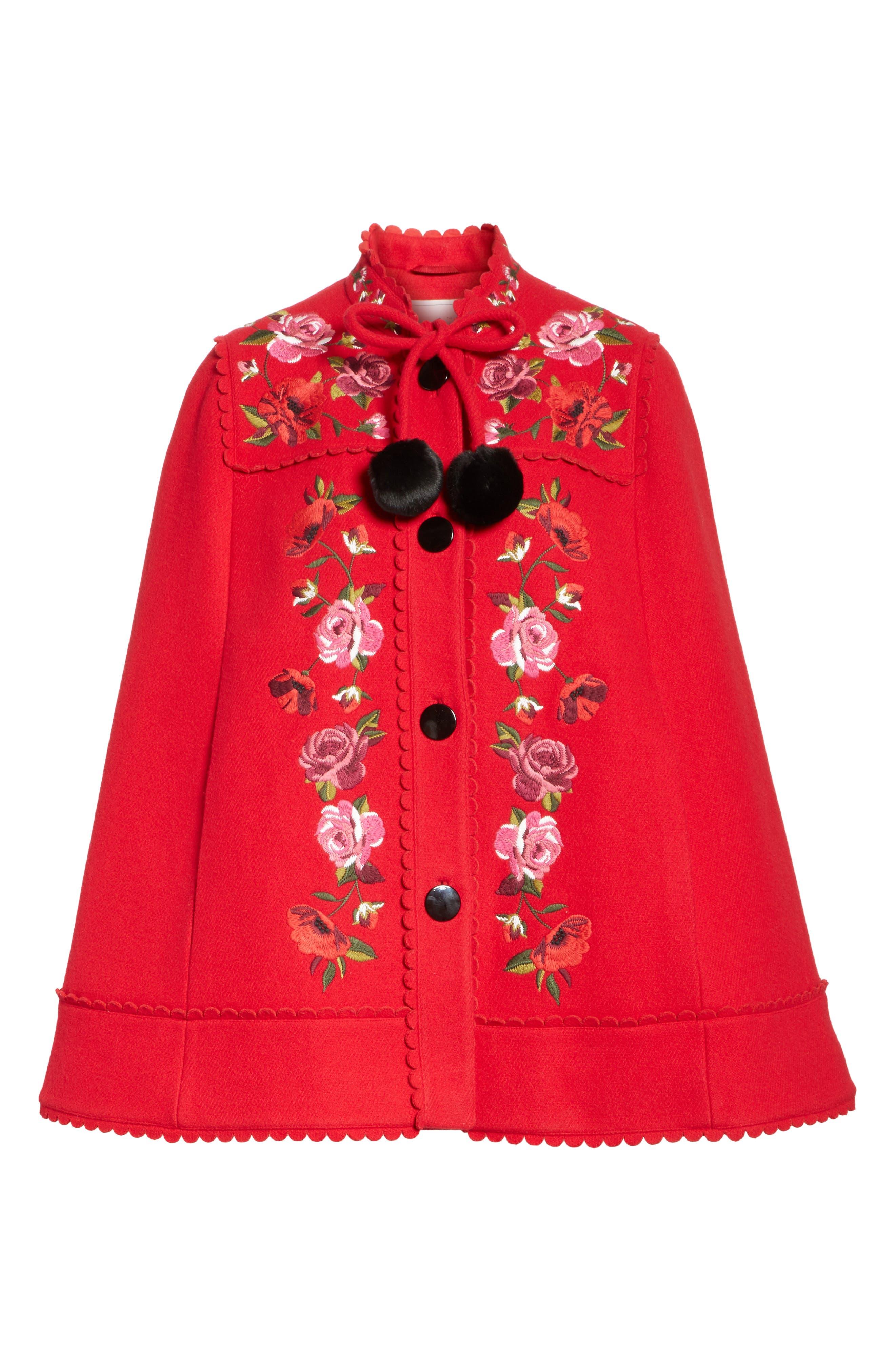 mari wool blend cape,                             Alternate thumbnail 6, color,                             Charm Red