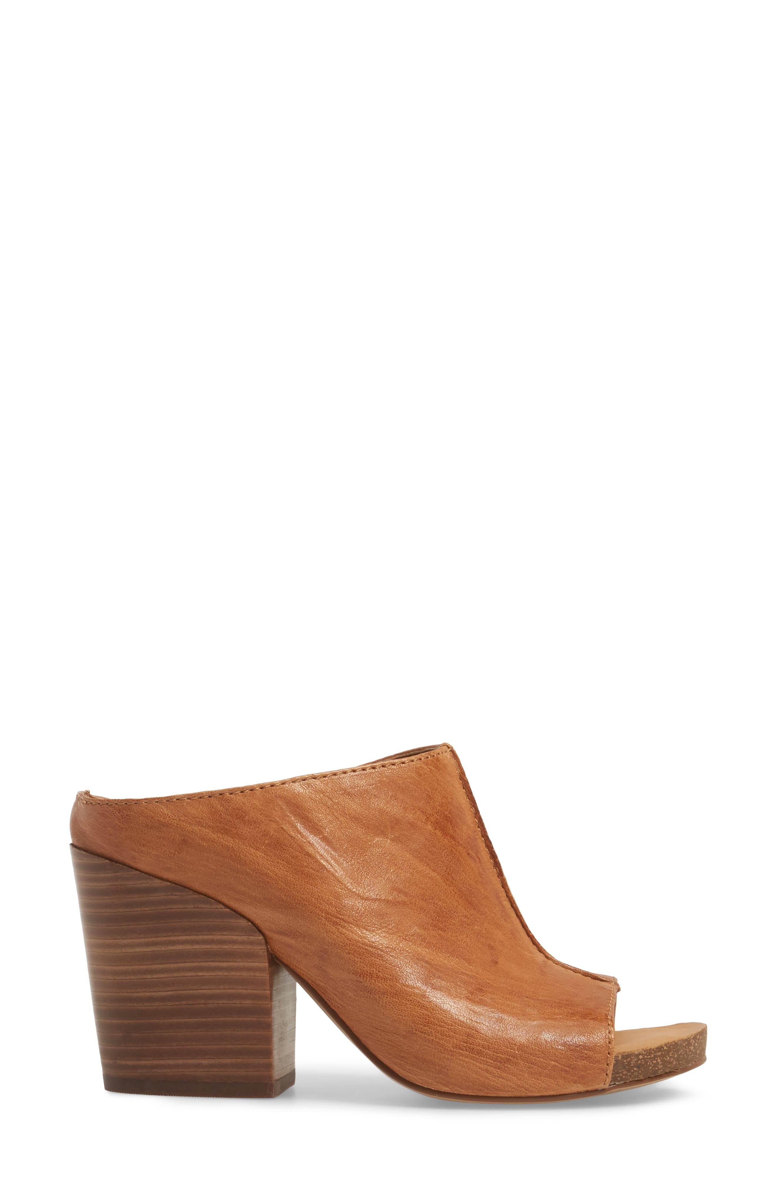 Isabella Open Toe Mule,                             Alternate thumbnail 3, color,                             Luggage Leather