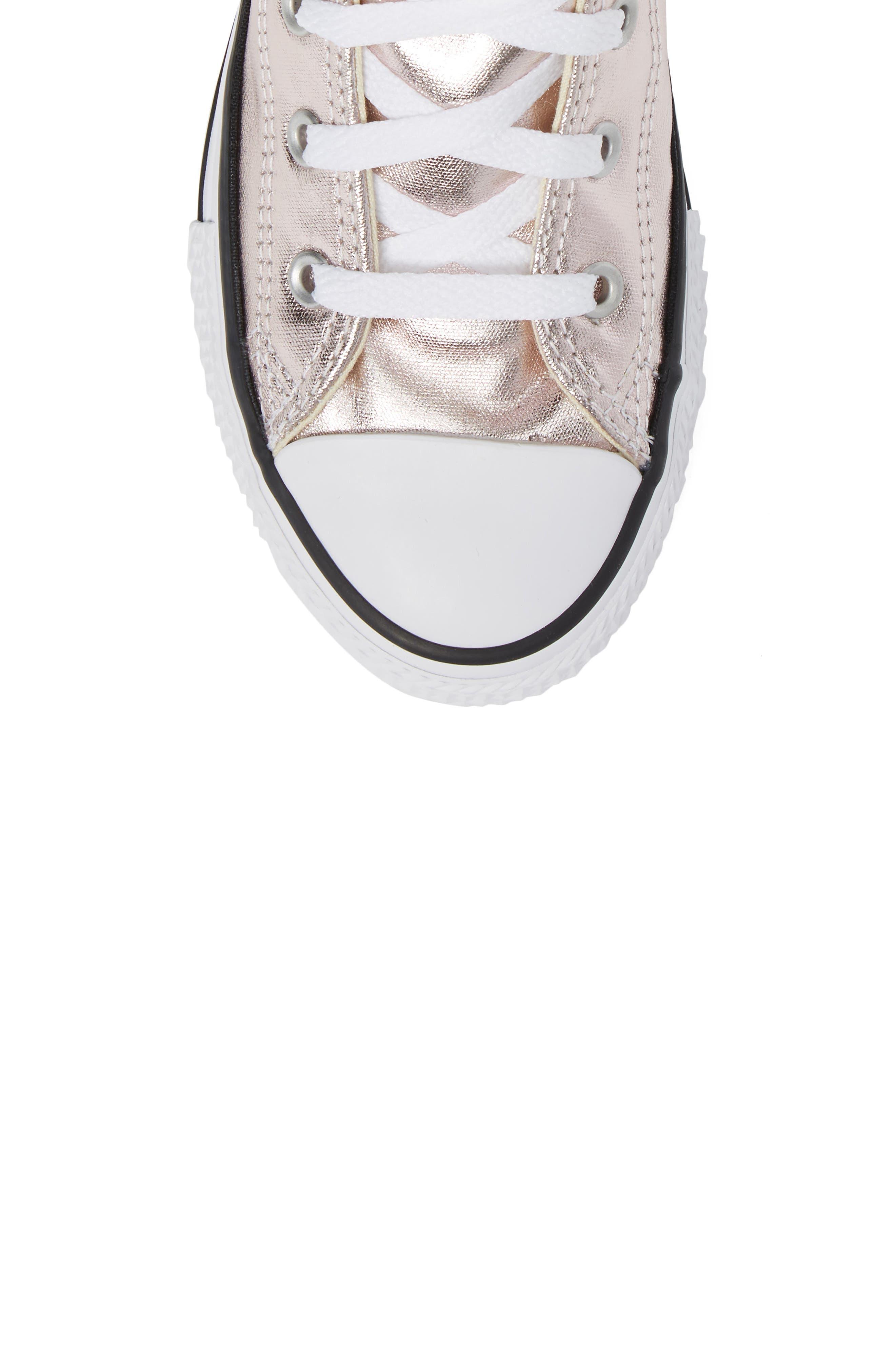 Chuck Taylor<sup>®</sup> All Star<sup>®</sup> Seasonal Metallic High Top Sneaker,                             Alternate thumbnail 5, color,                             Rose Quartz/ White Canvas