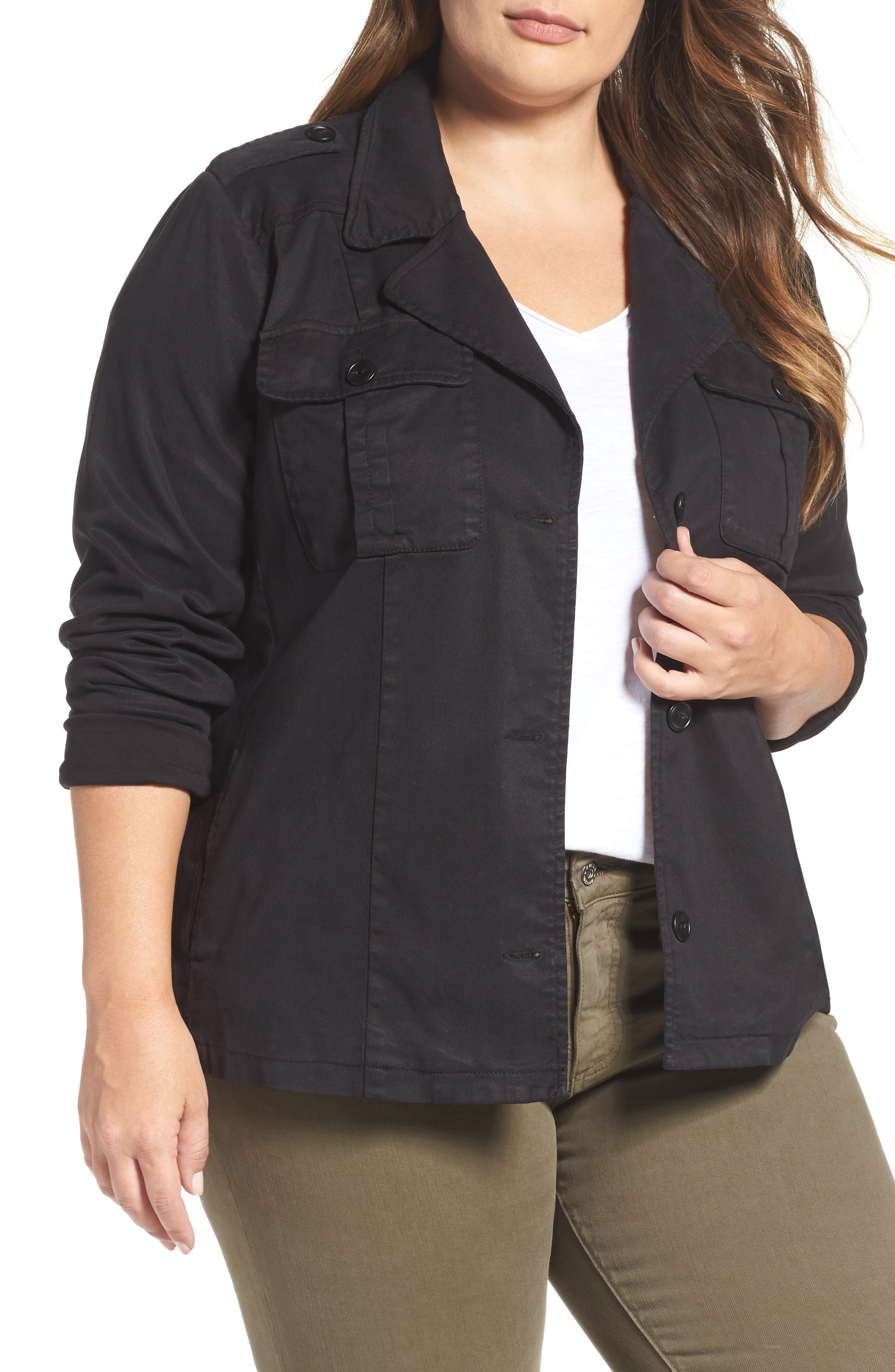 Lucky Brand Cropped Military Jacket (Plus Size)
