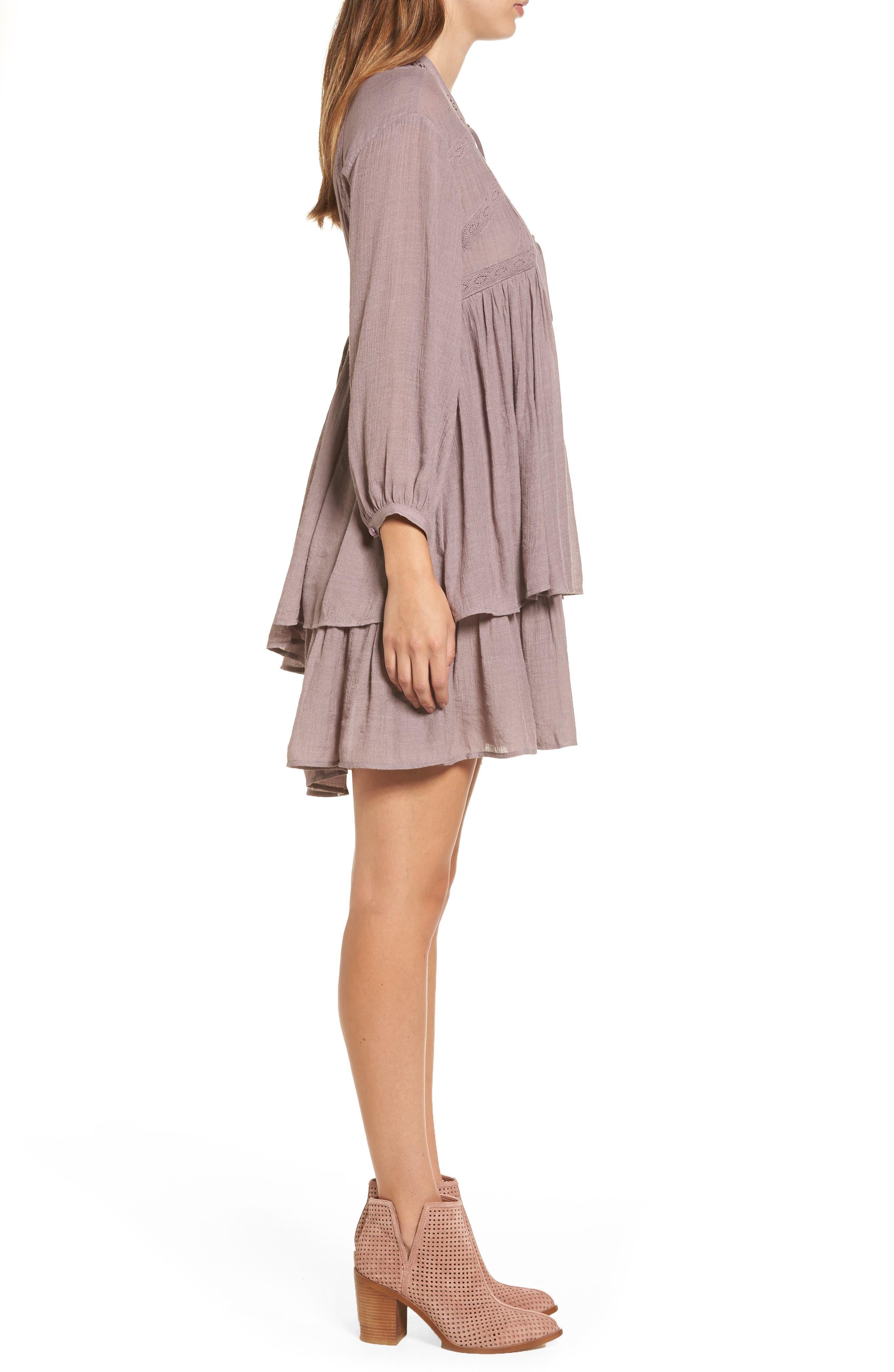 Lace-Up Peasant Dress,                             Alternate thumbnail 3, color,                             Purple Peace