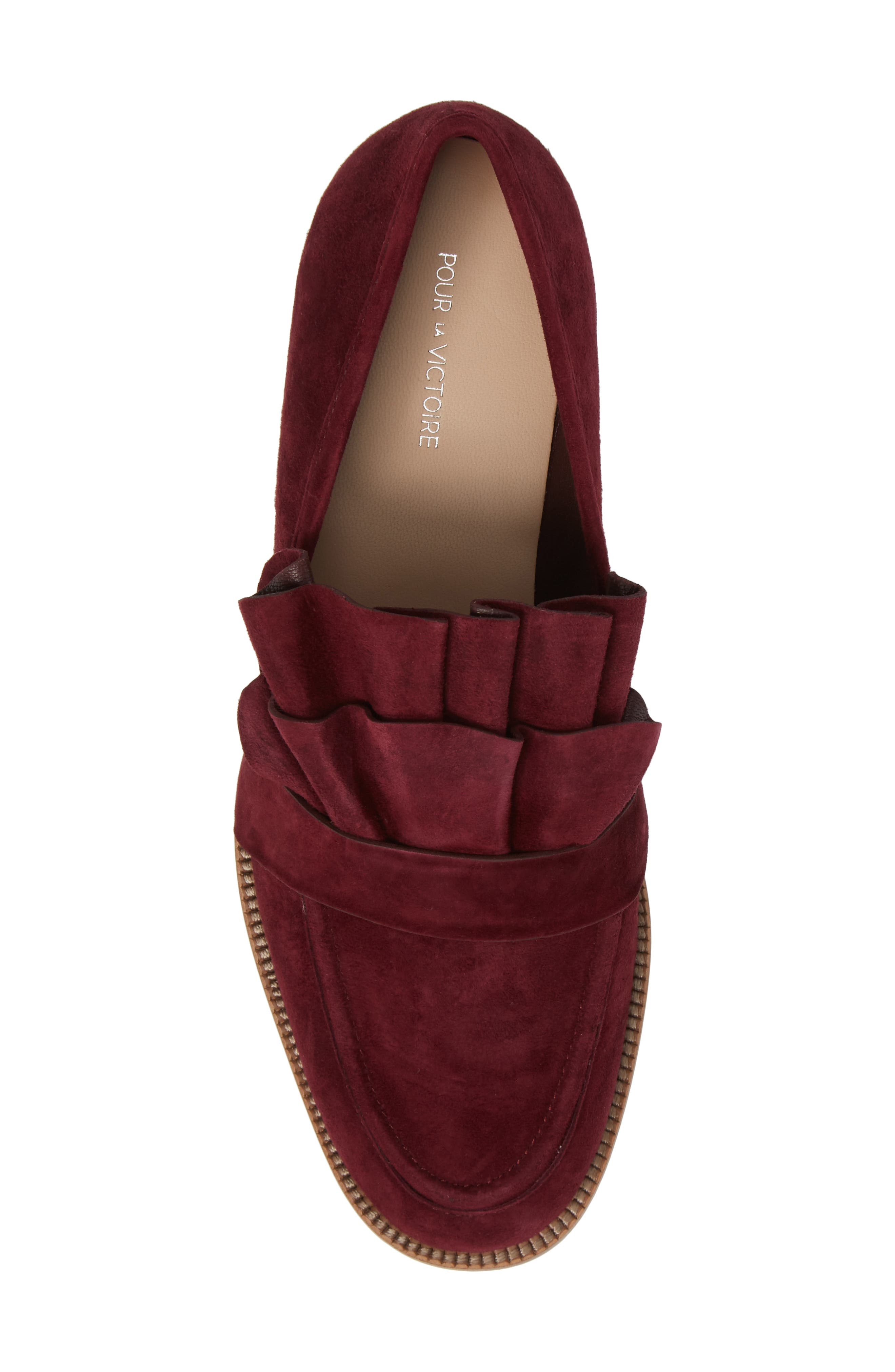 Tenley Ruffled Loafer,                             Alternate thumbnail 5, color,                             Merlot Suede