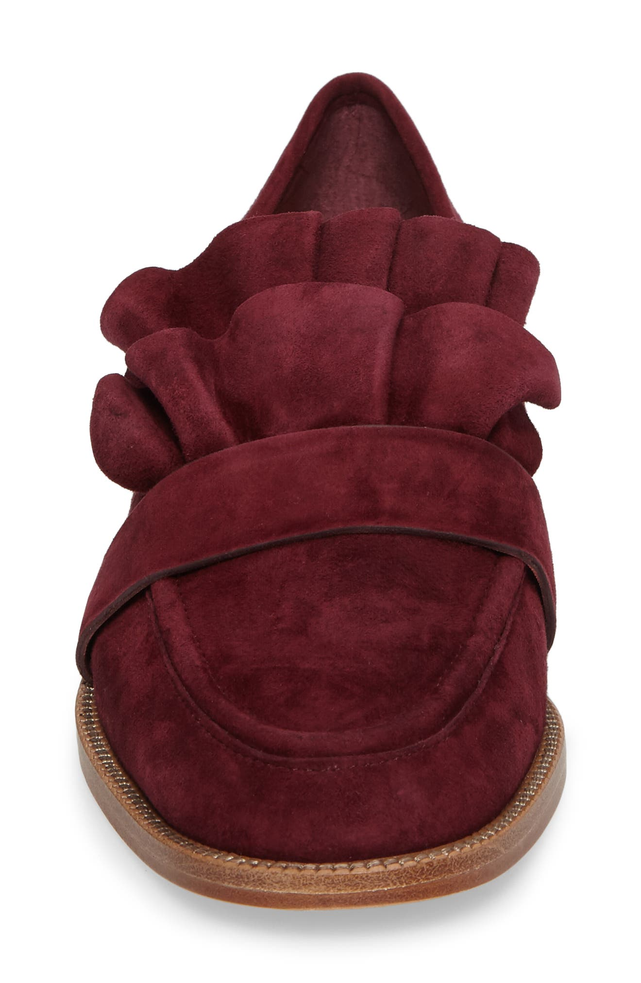 Tenley Ruffled Loafer,                             Alternate thumbnail 4, color,                             Merlot Suede