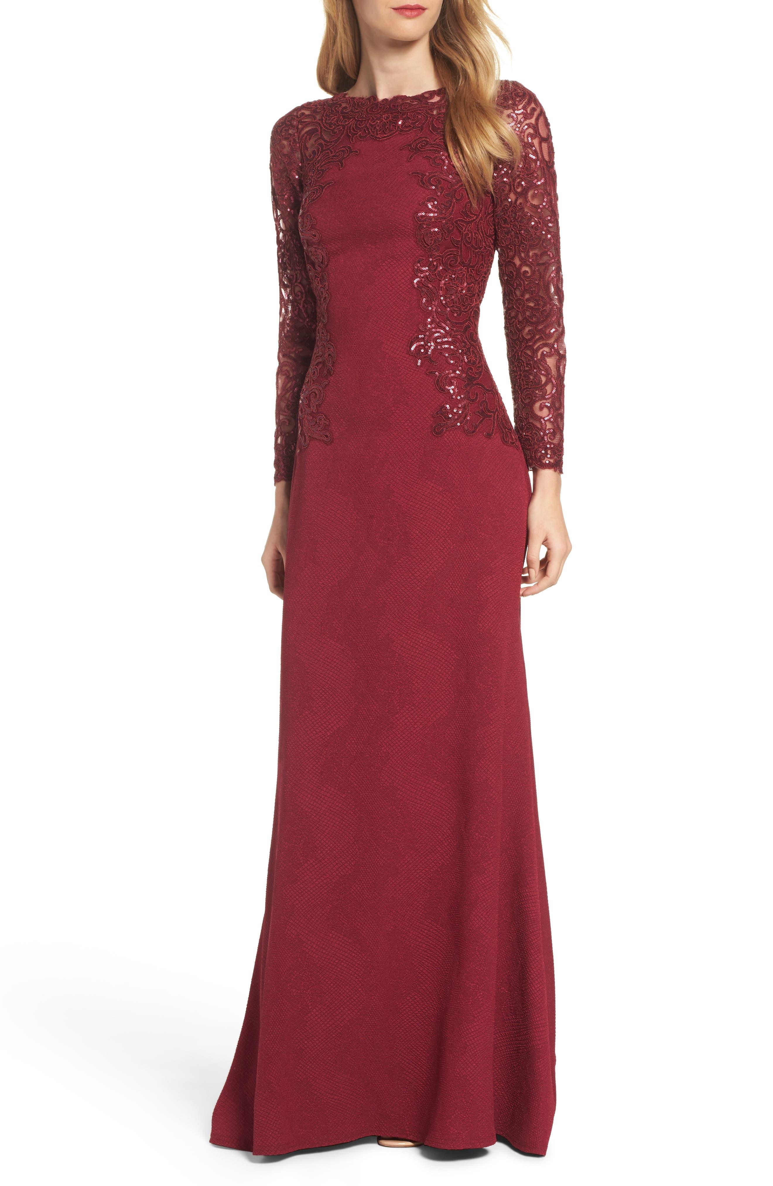 Tadashi Shoji Sequin Embellished Crepe Gown