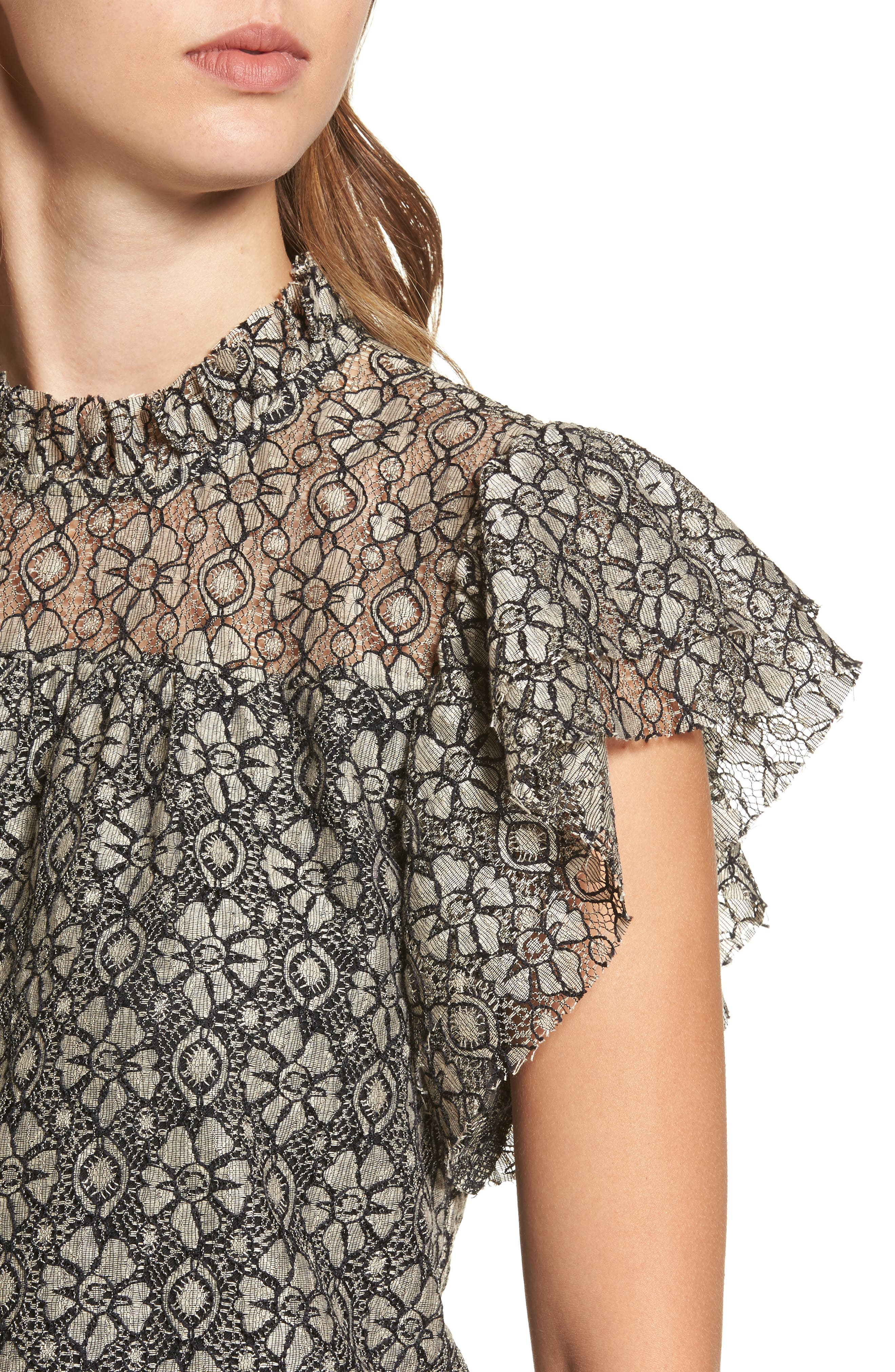 Ruffle Lace Top,                             Alternate thumbnail 4, color,                             Taupe/ Black