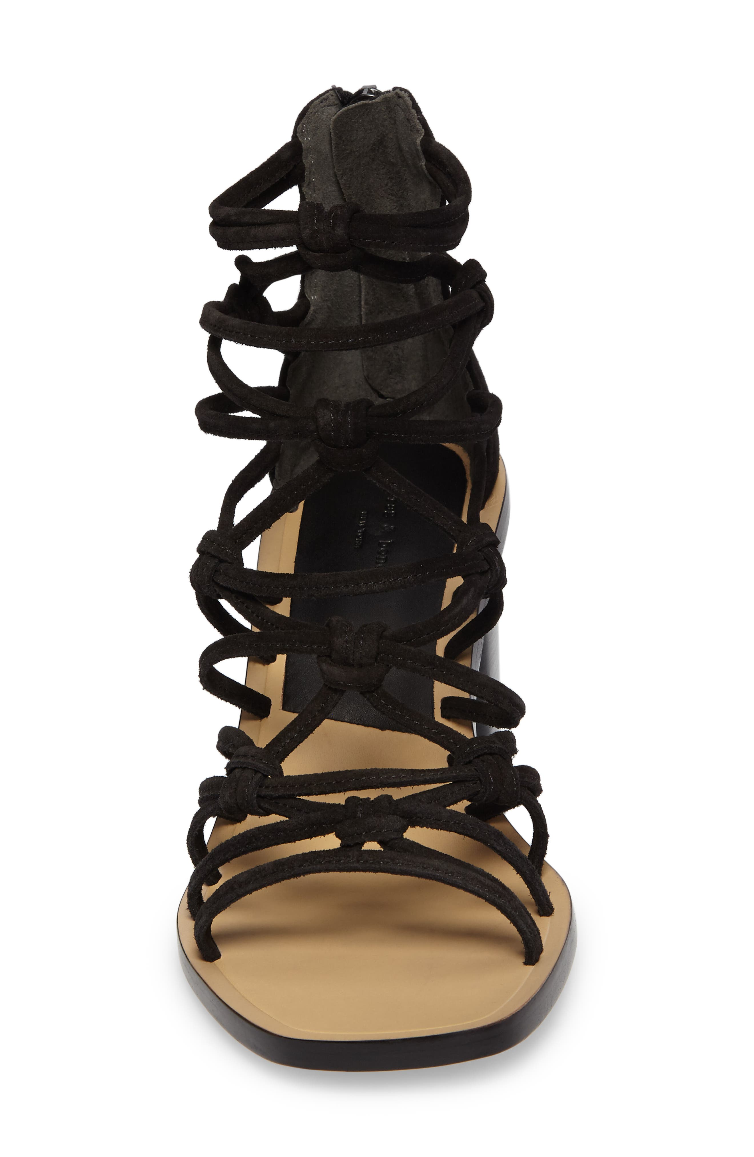 Camille Knotted Strappy Sandal,                             Alternate thumbnail 4, color,                             Black Suede
