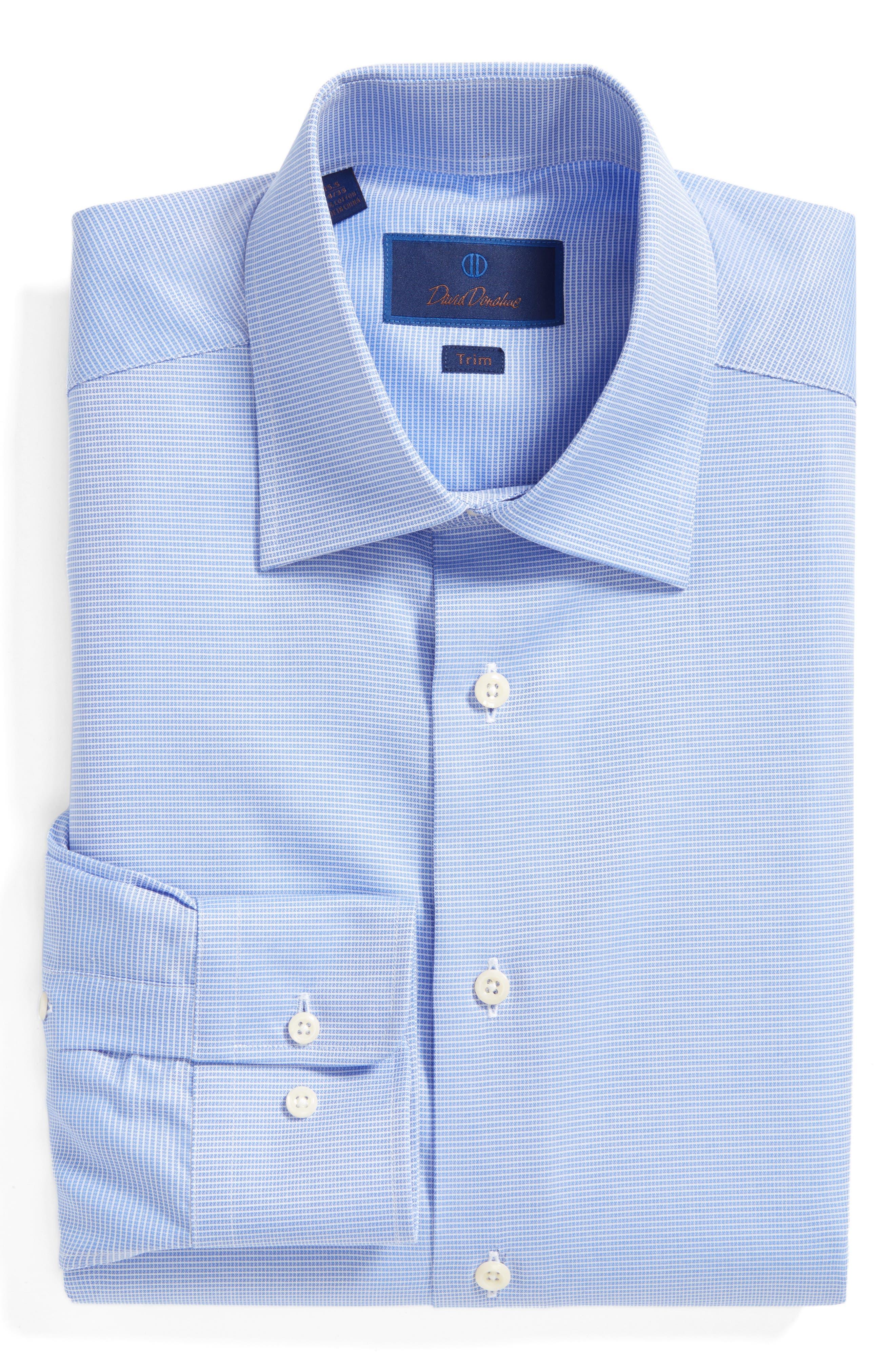 David Donahue Trim Fit Microcheck Dress Shirt