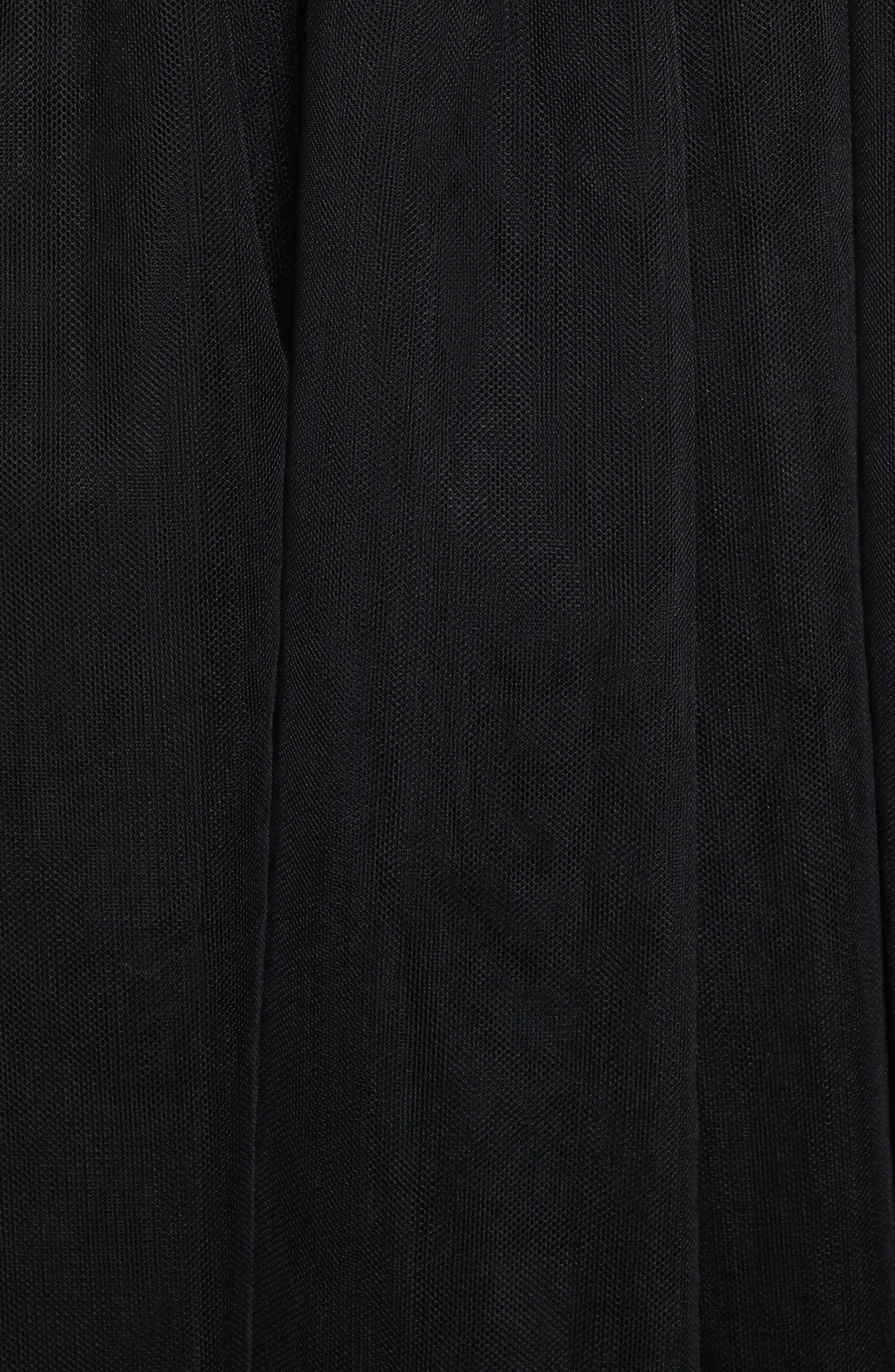 Tulle Midi Skirt,                             Alternate thumbnail 5, color,                             Black