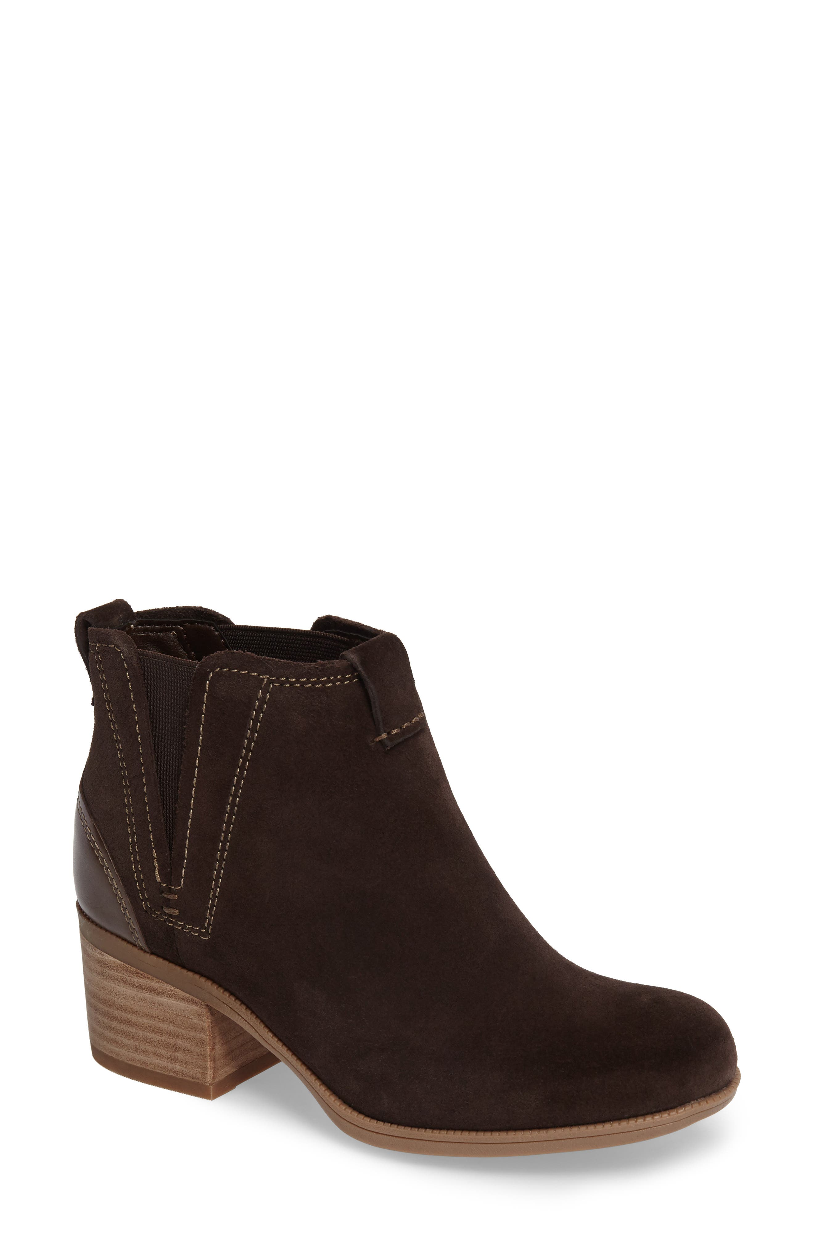 Maypearl Daisy Bootie,                             Main thumbnail 1, color,                             Dark Brown Suede