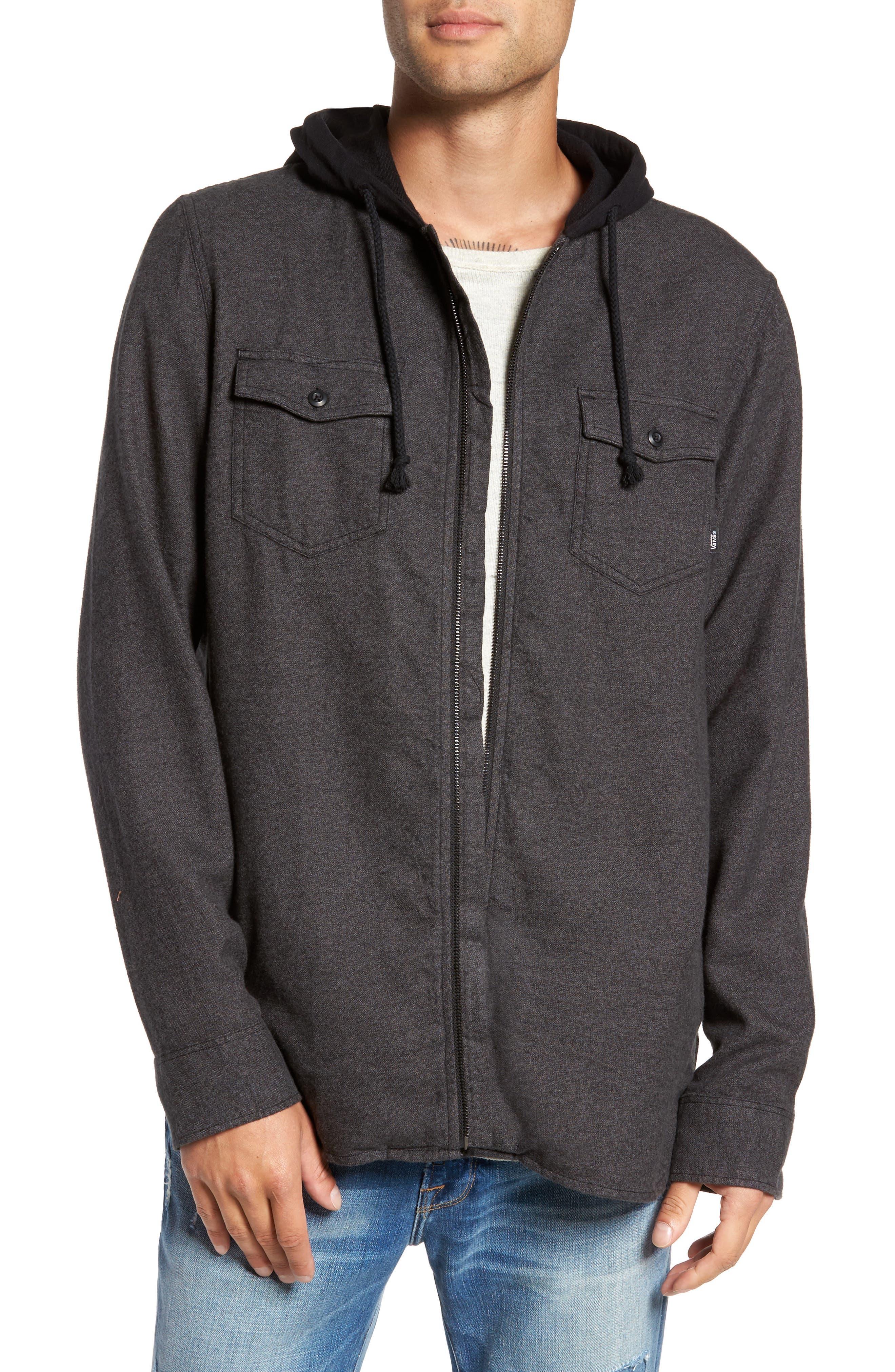 Alternate Image 1 Selected - Vans Never Mind Hooded Zip Shirt Jacket