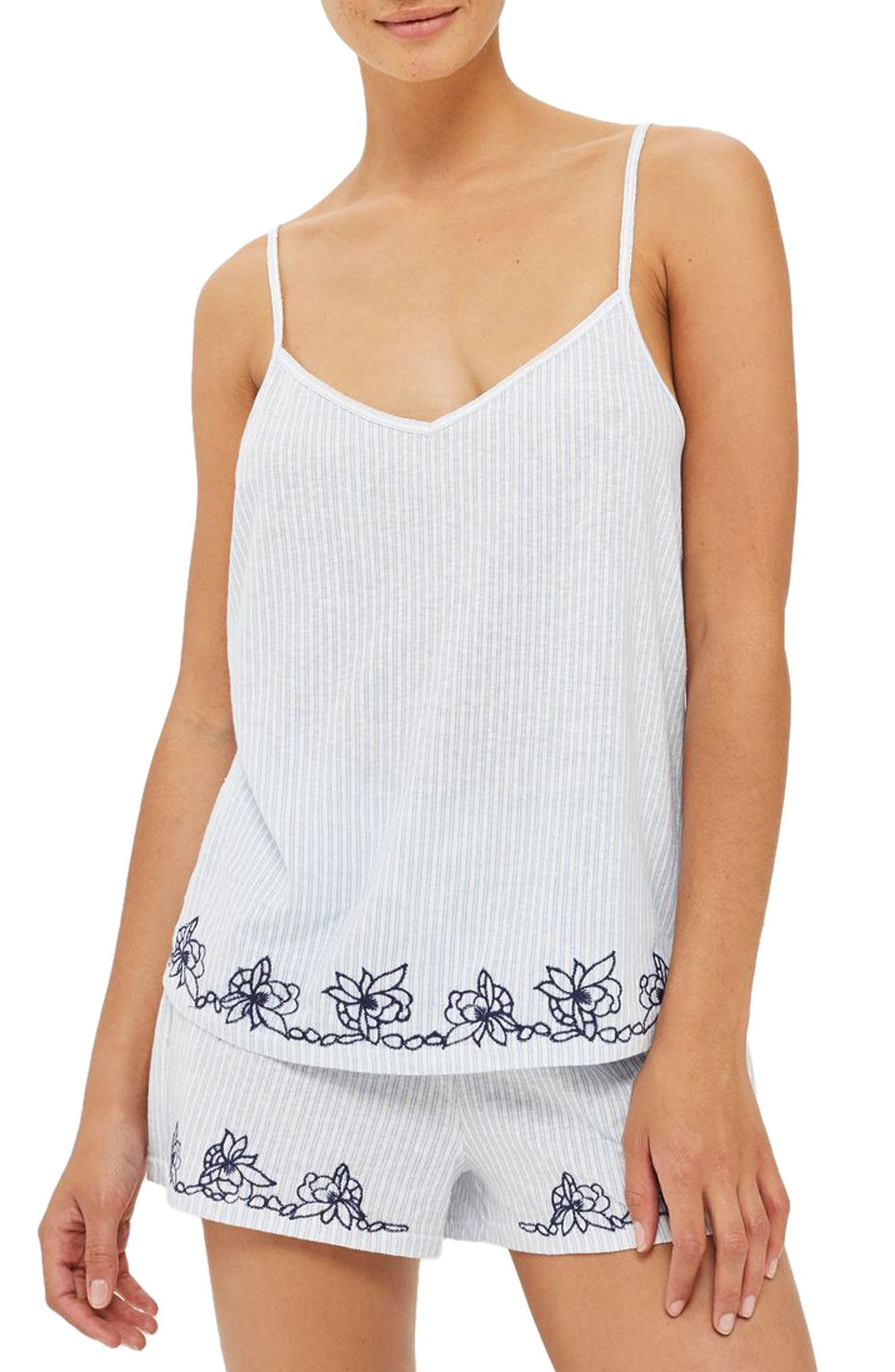 Main Image - Topshop Embroidered Oxford Stripe Pajama Tank