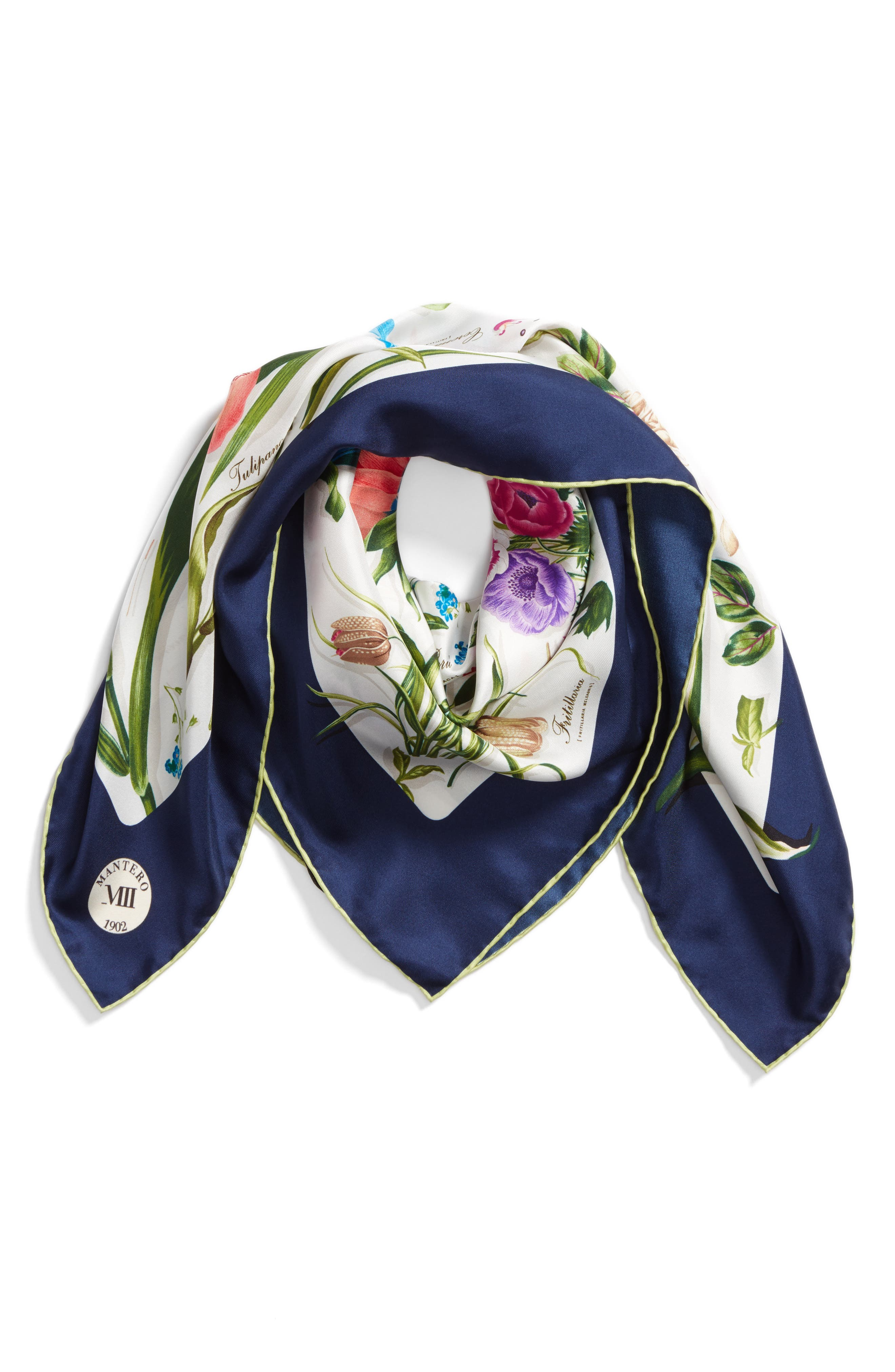 Archivio N.15 Square Silk Scarf,                             Alternate thumbnail 3, color,                             Ivory
