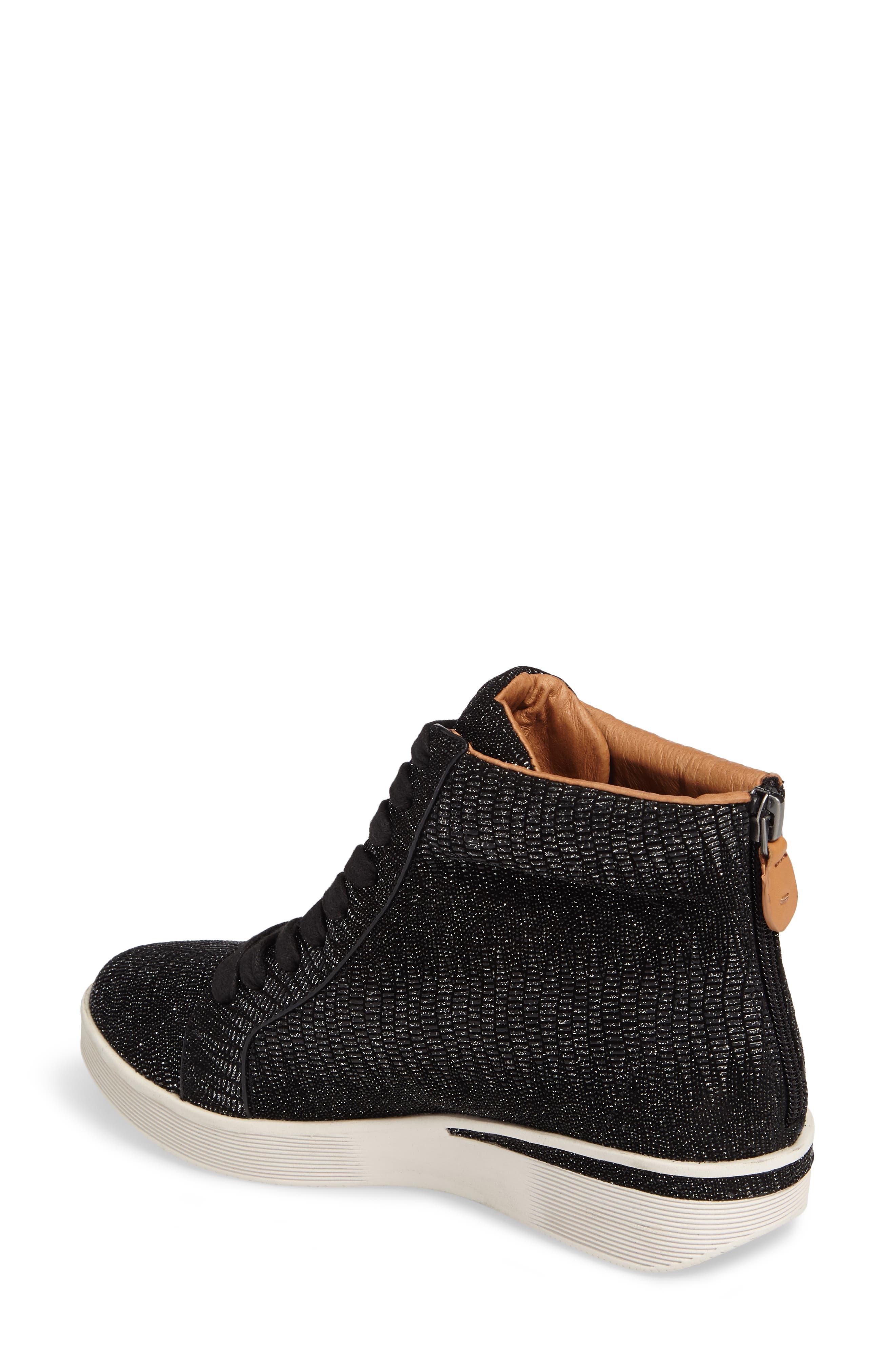 Helka High Top Sneaker,                             Alternate thumbnail 2, color,                             Black Metallic Leather
