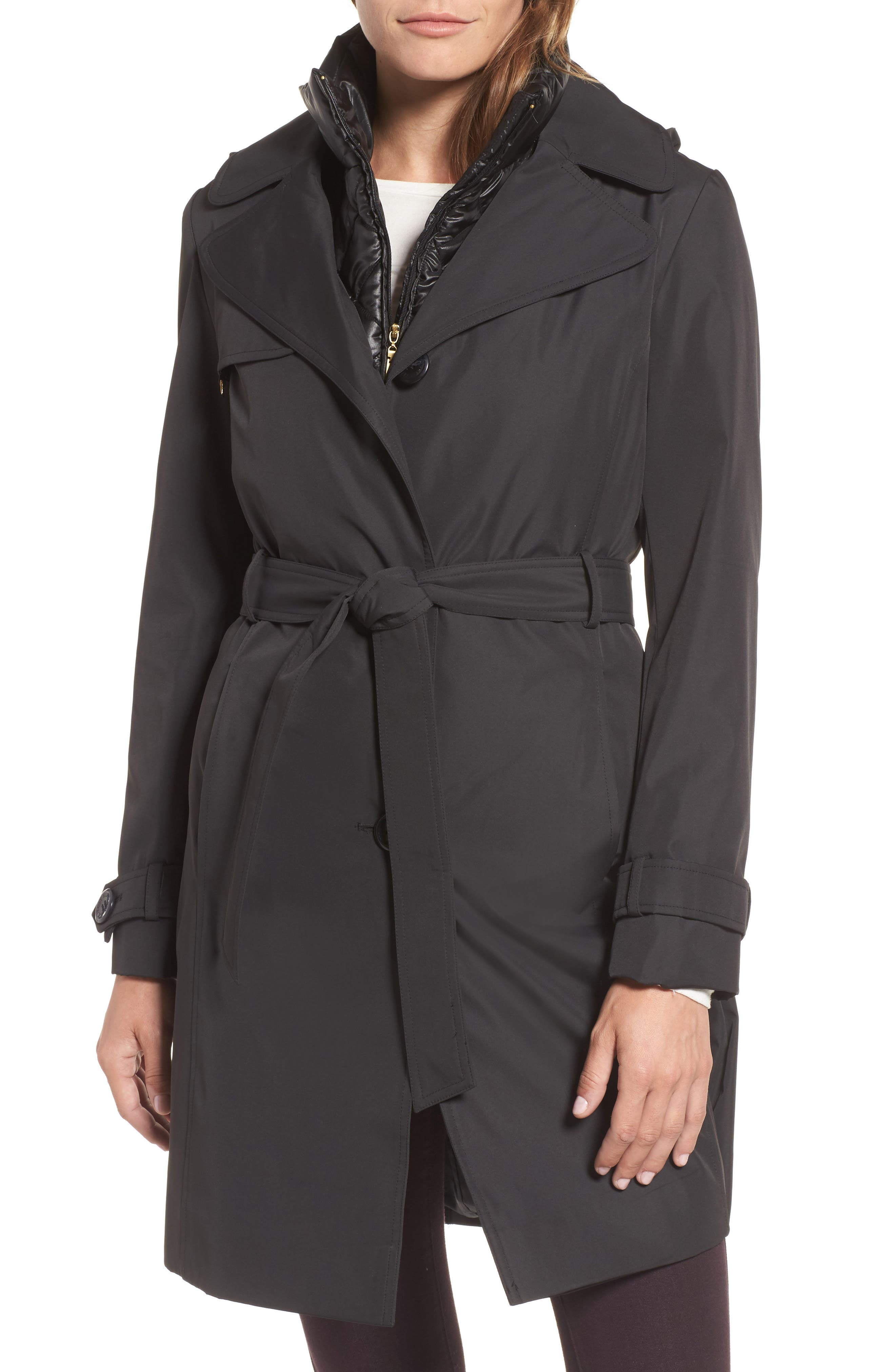 Ellen Tracy Waterproof Trench Coat with Removable Vest